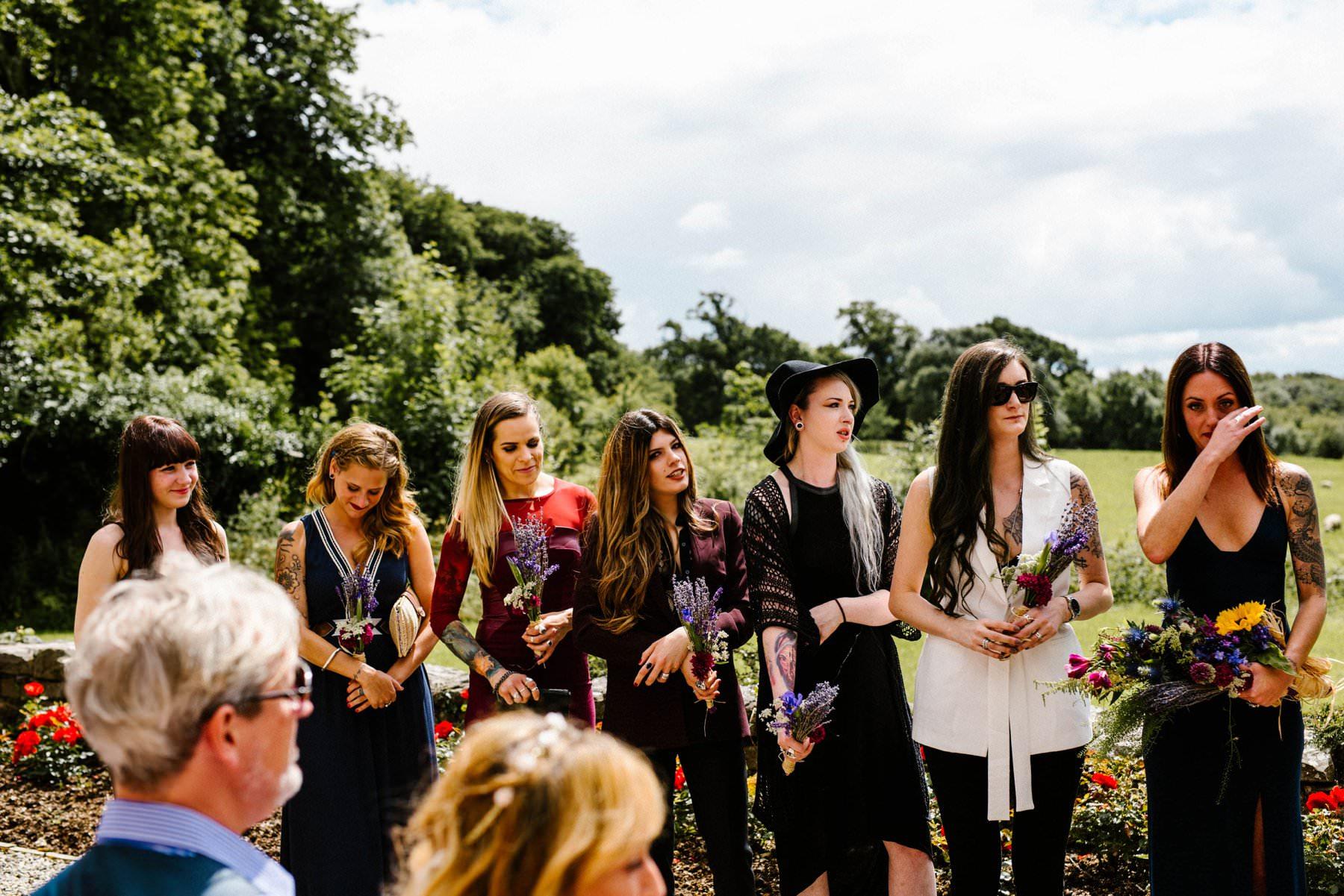 alternative bridesmaids at outdoor ceremony in Ireland
