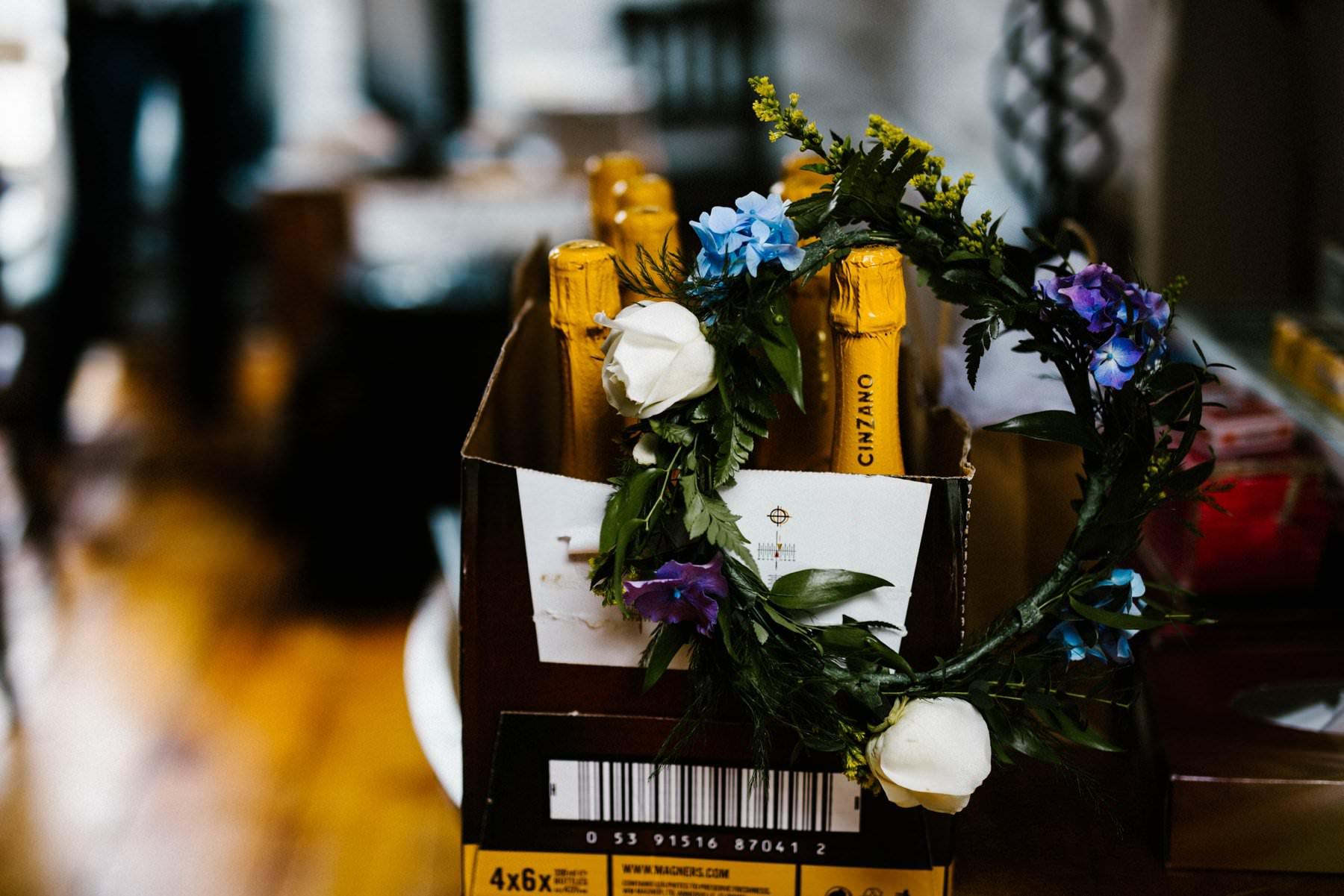 champagne and flower crown wedding photographer northern ireland