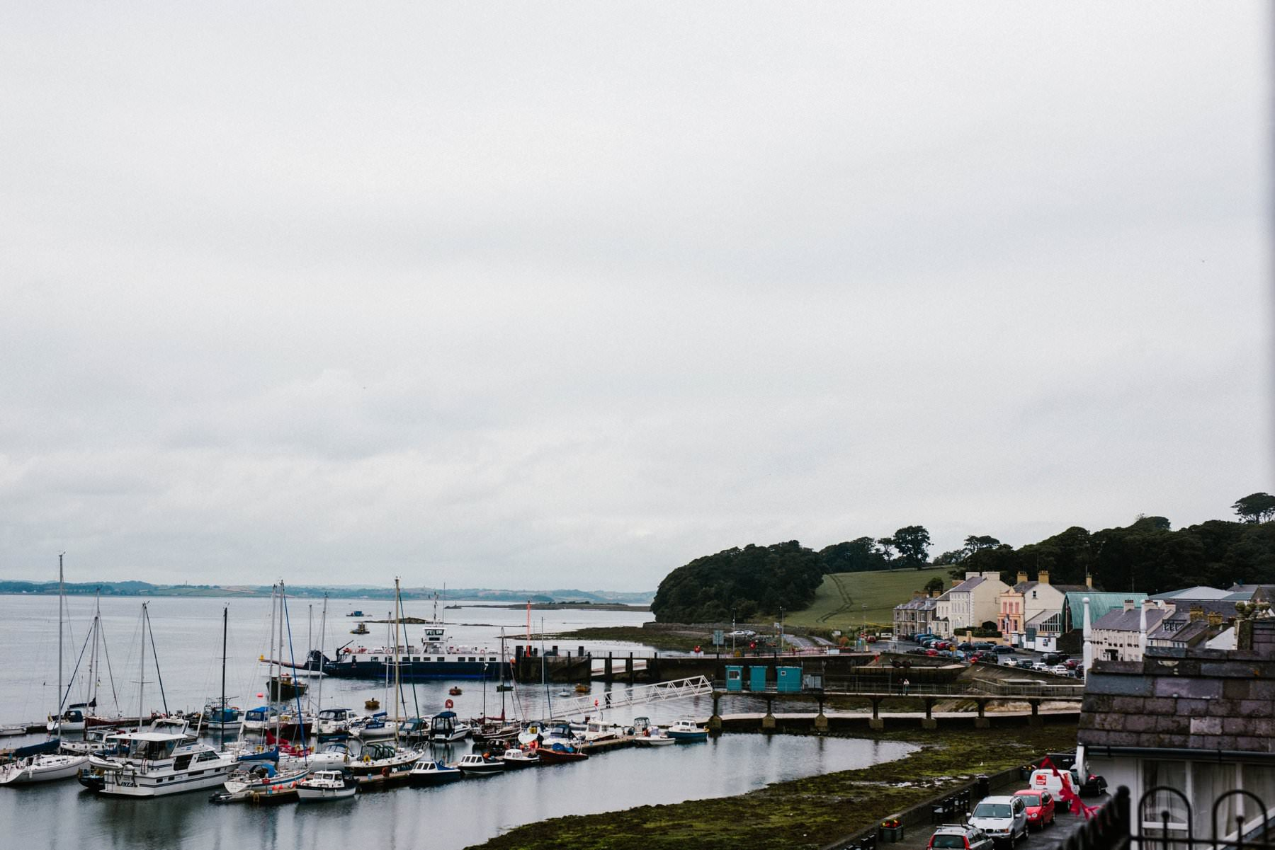 landscape of portaferry harbour wedding photographer northern ireland