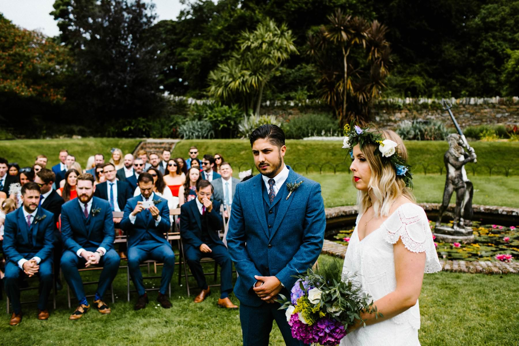 outdoor wedding ceremony sunken gardens at Castle Ward wedding photographer northern ireland