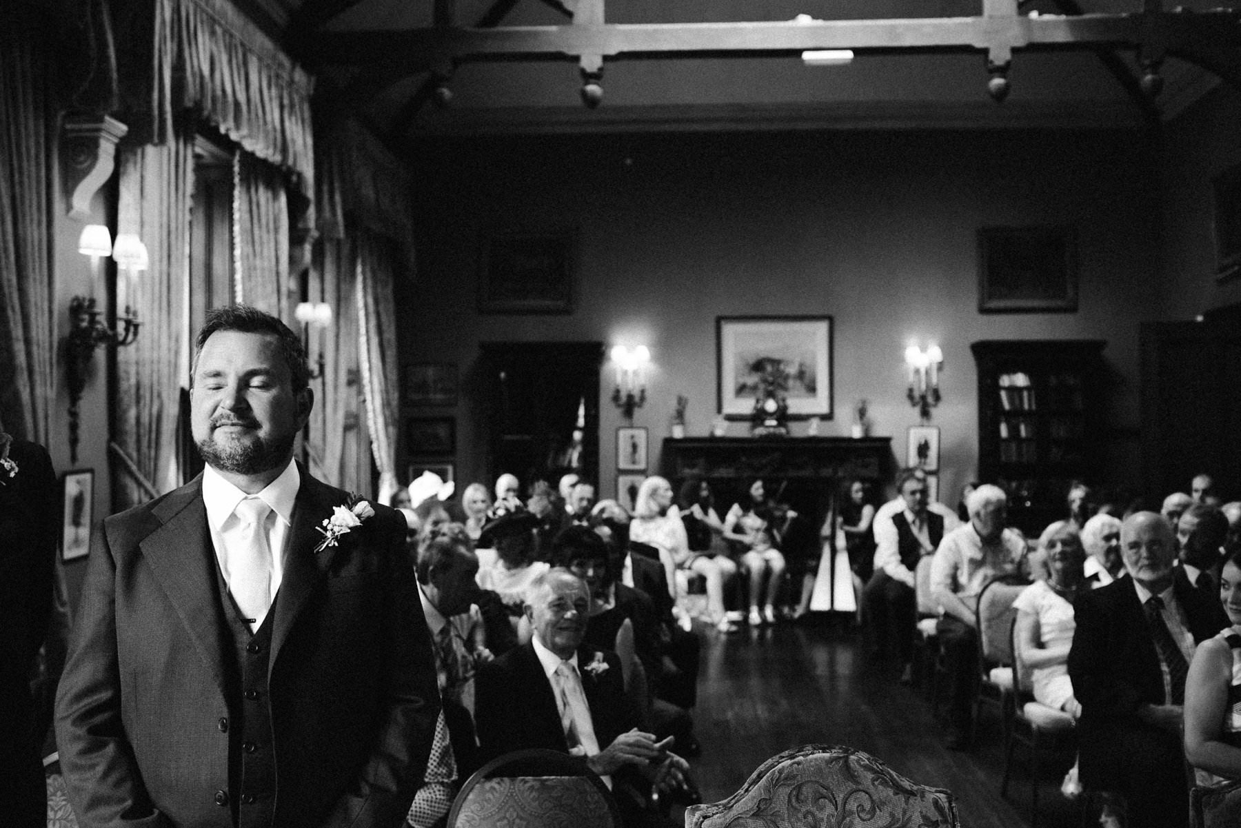 groom waiting at castle leslie wedding photography ireland