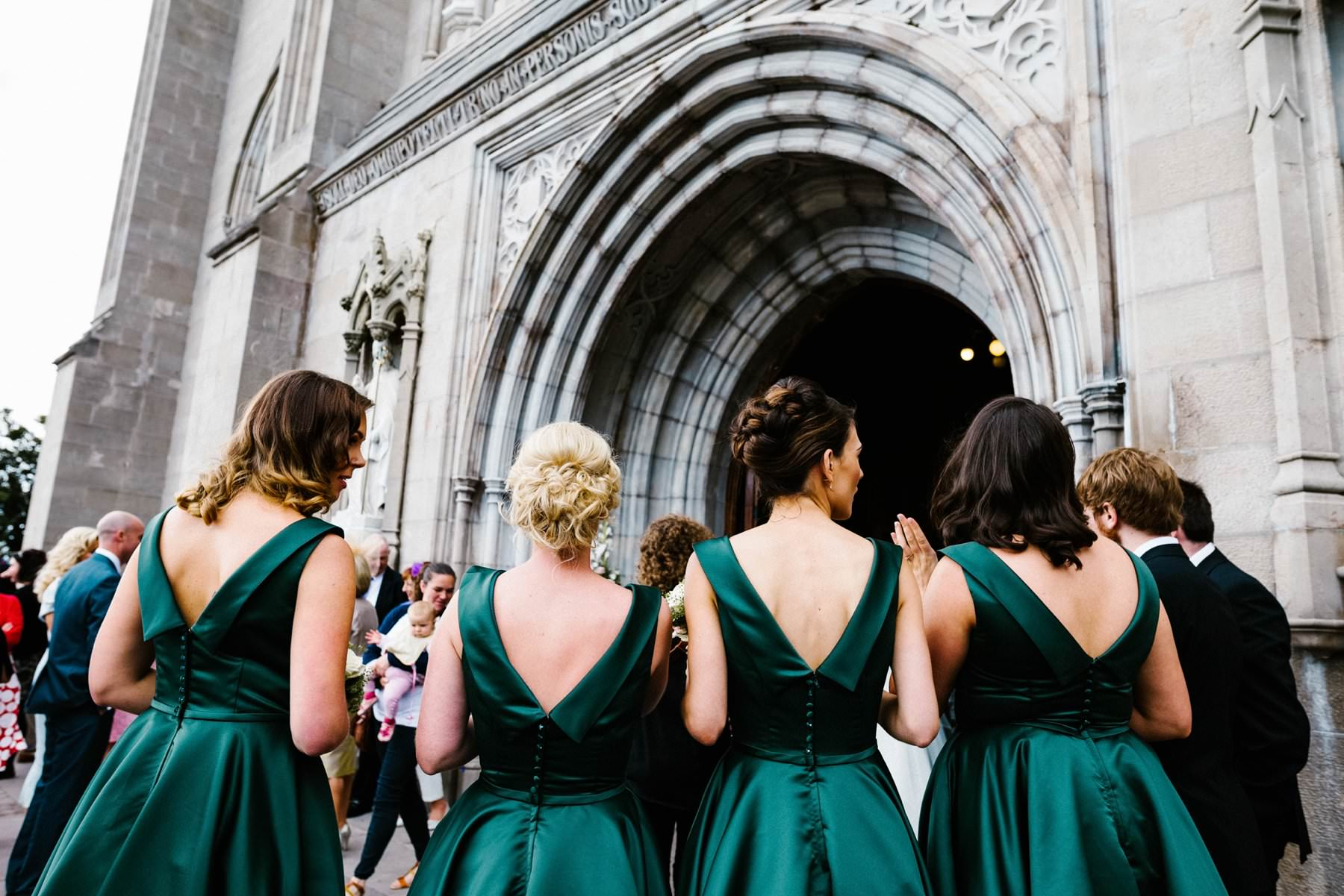 bridesmaids in green dresses wedding photographer ireland