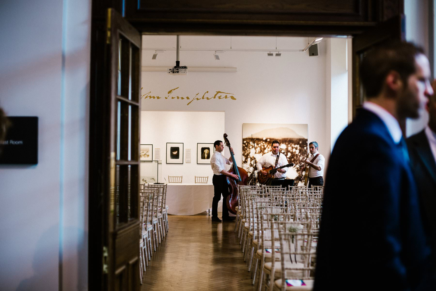a swing band play as the guest arrive at the Ulster Museum wedding photography northern ireland
