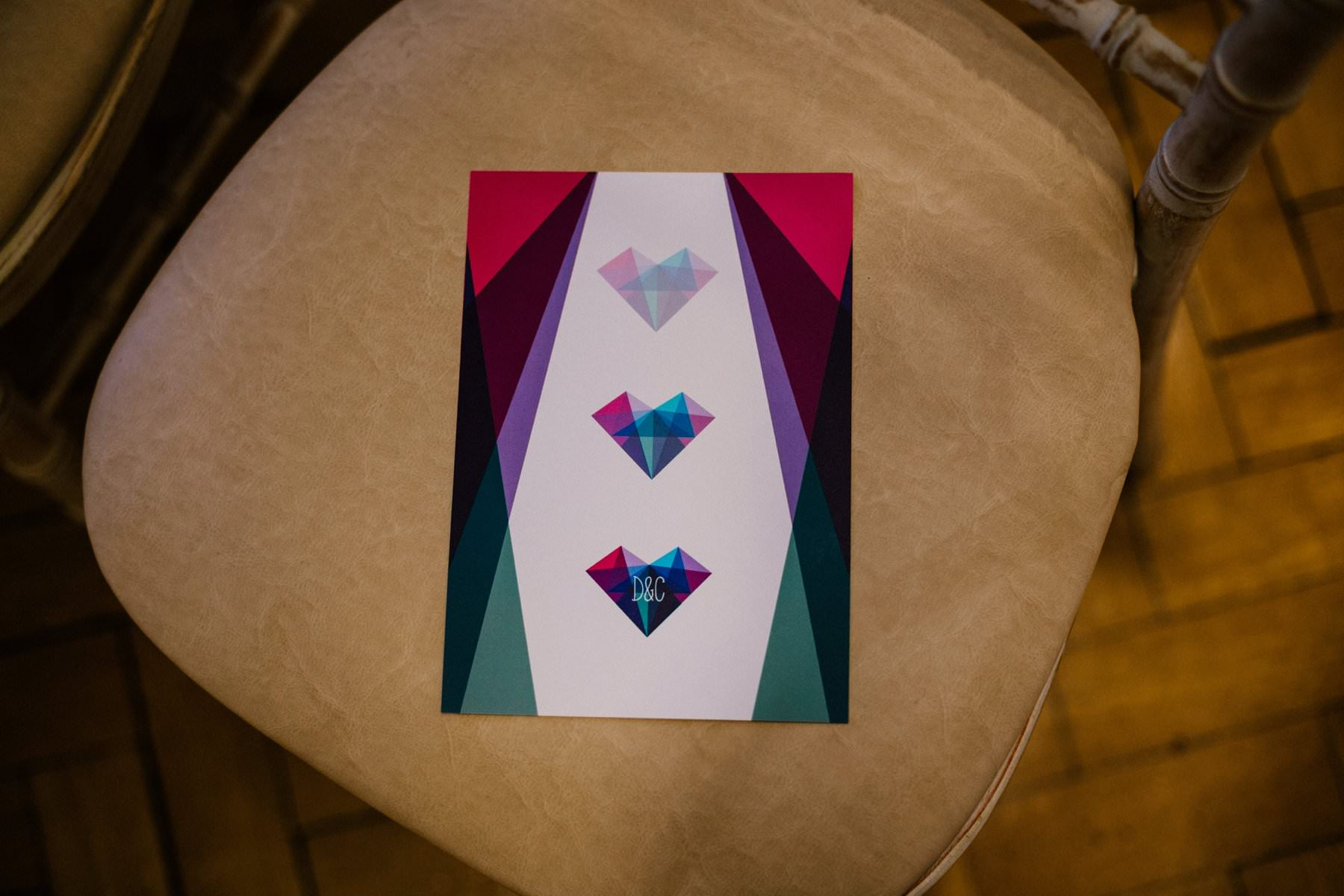 geometric design for a wedding order of service photography northern ireland