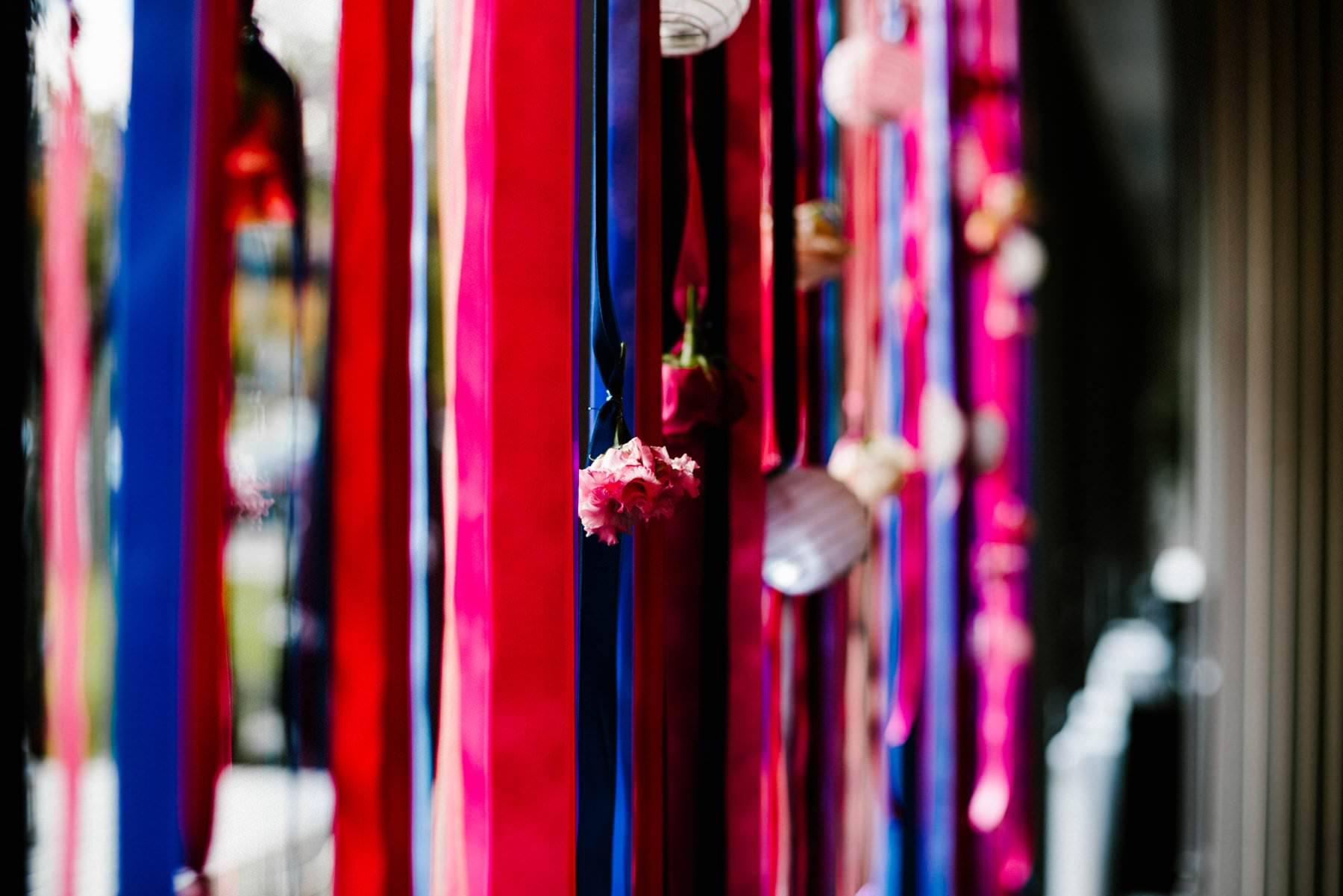 vibrant streamers for top table wedding photography northern ireland