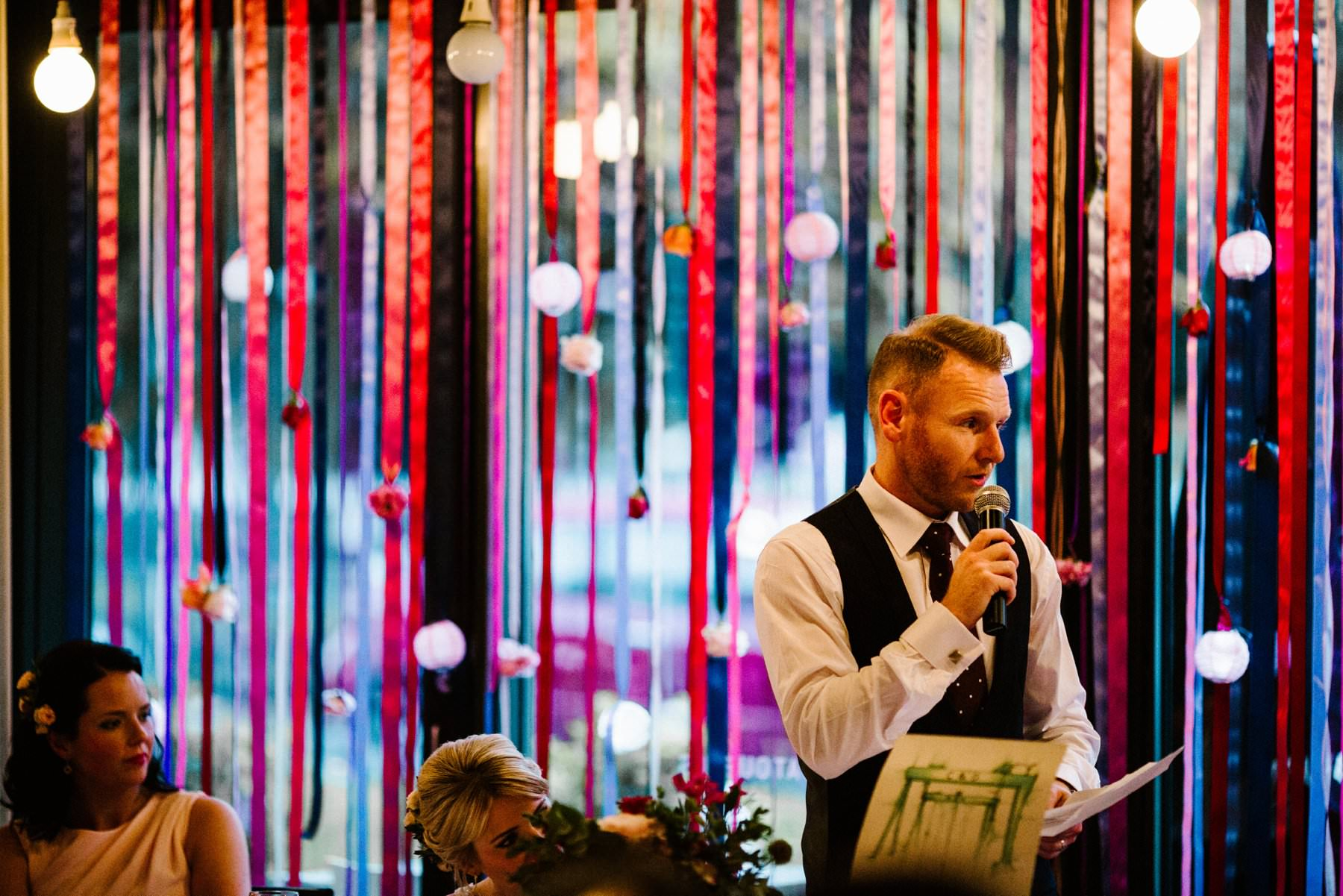 groom speaks at wedding reception in south belfast restaurant