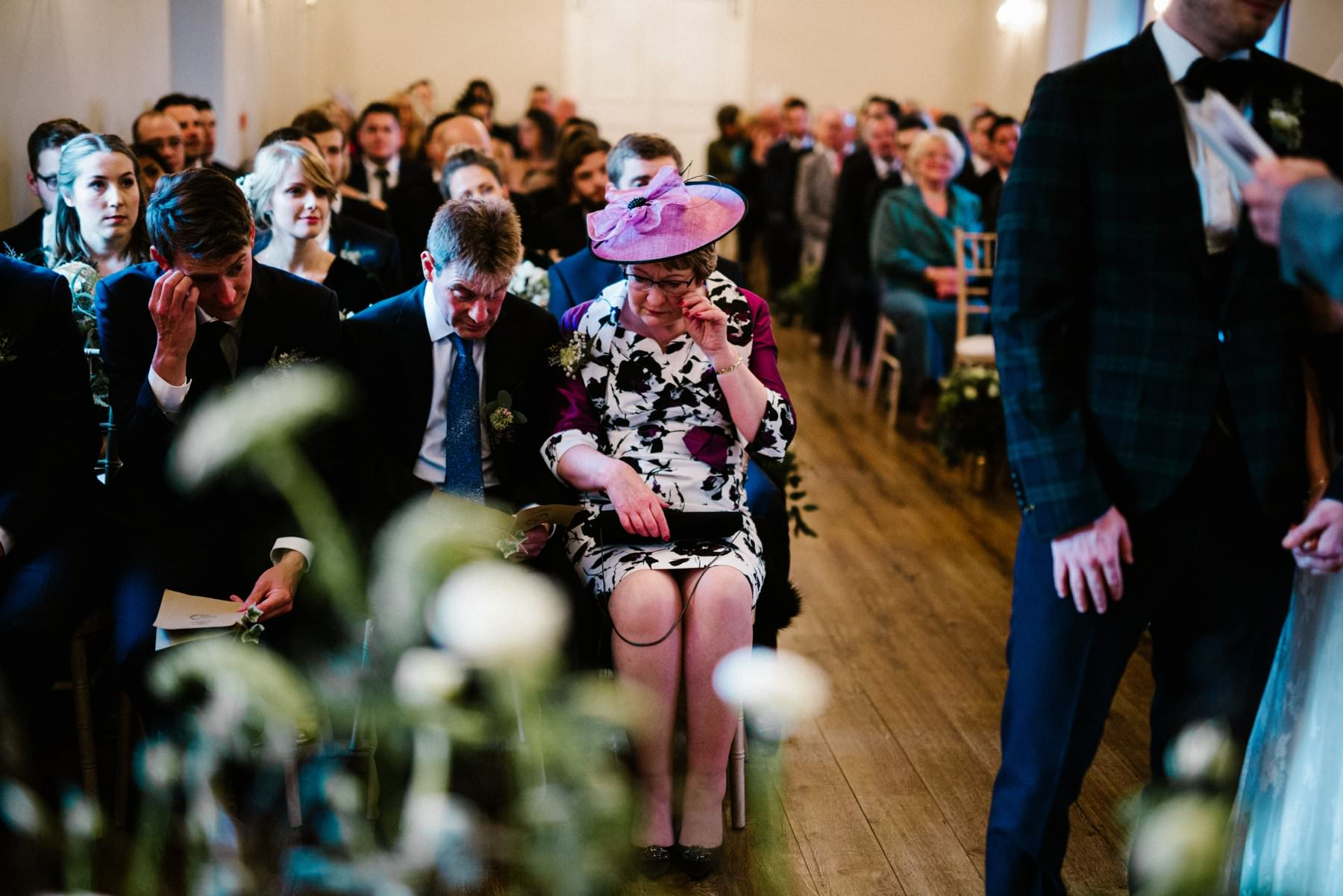 mother of the groom has an emotional moment at an Irish wedding