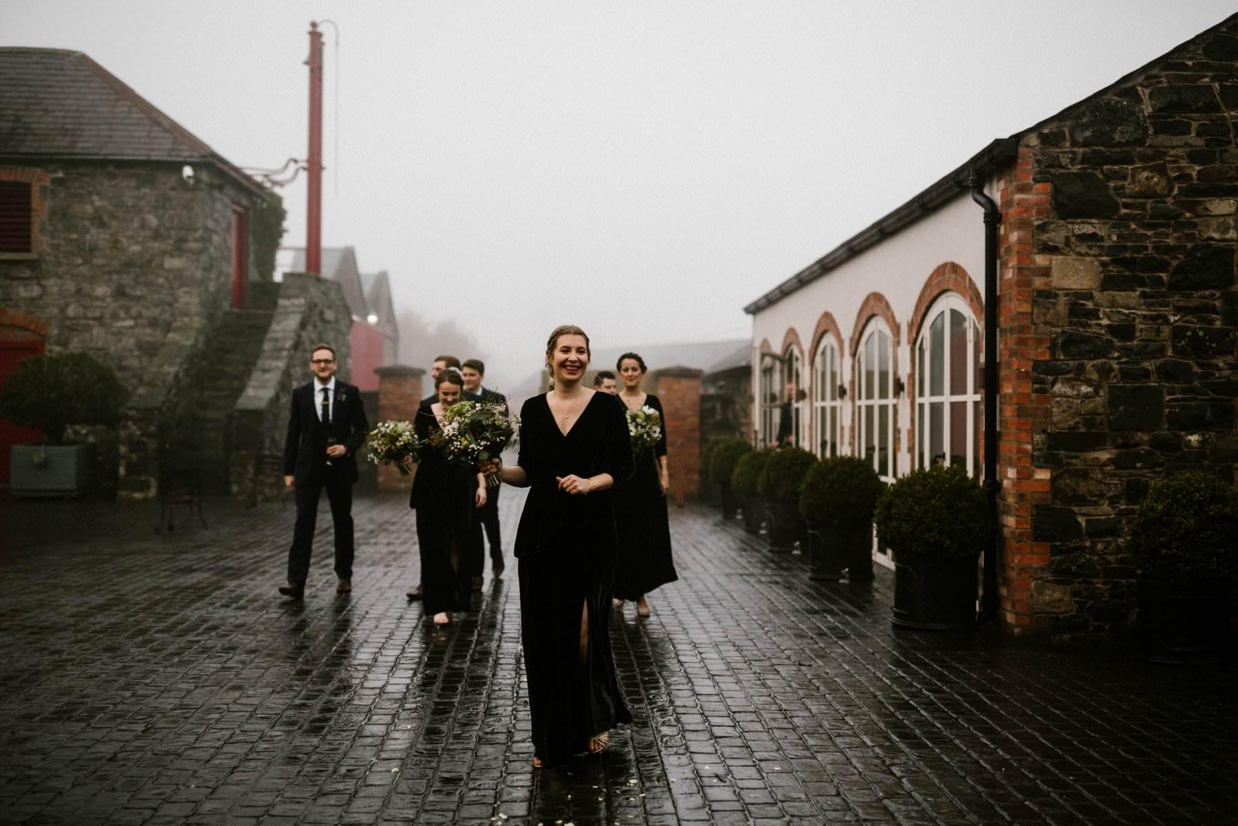 Bridesmaid in green velvet dresses in a winter wedding ireland