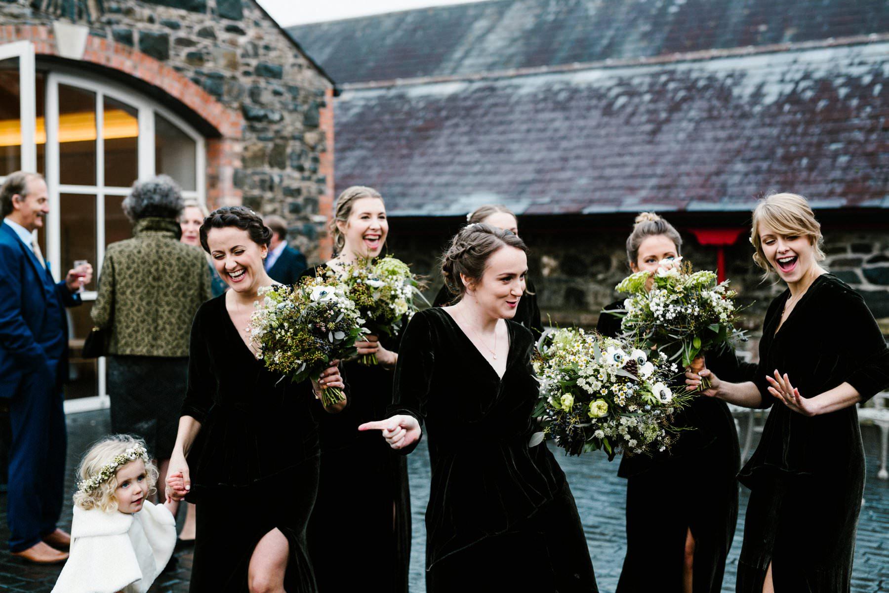 bridesmaids having fun at irish wedding