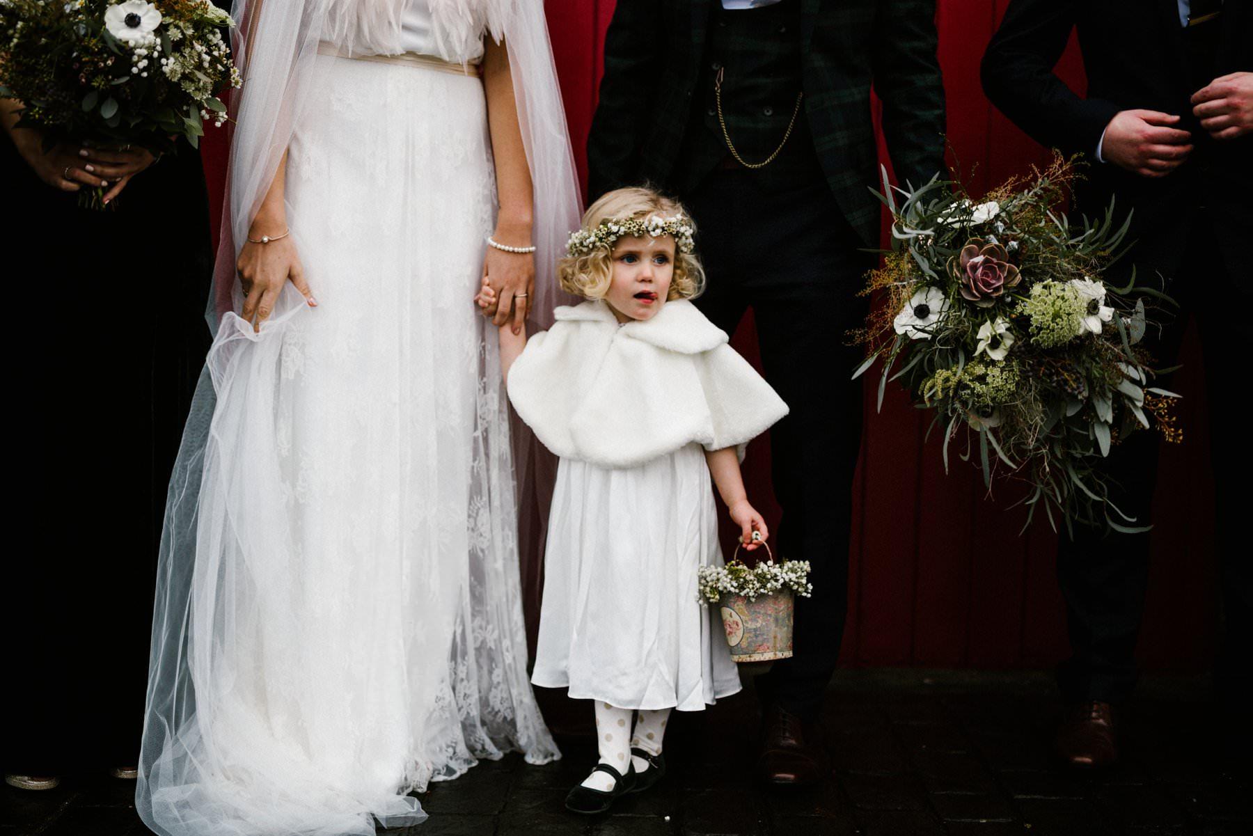 cute flower girl at northern ireland wedding