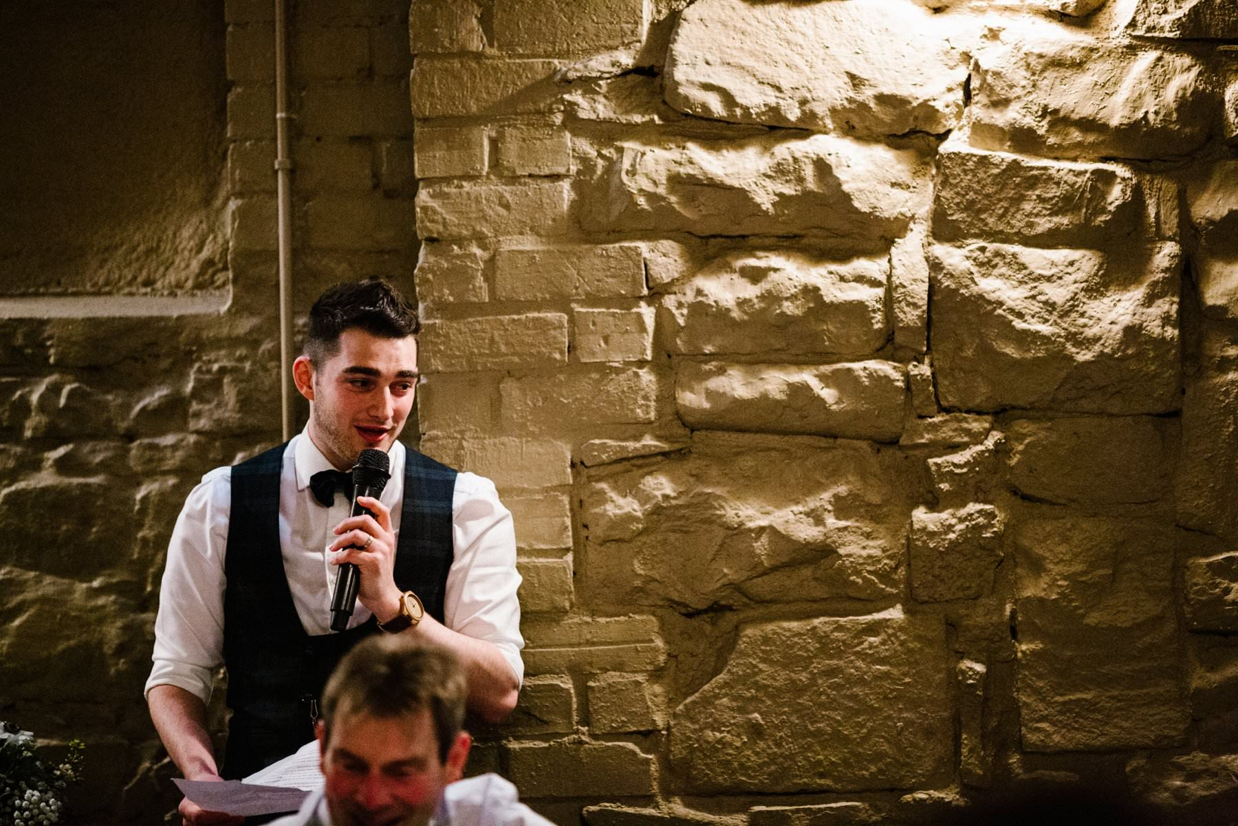 groom gives a speech at larchfield estate