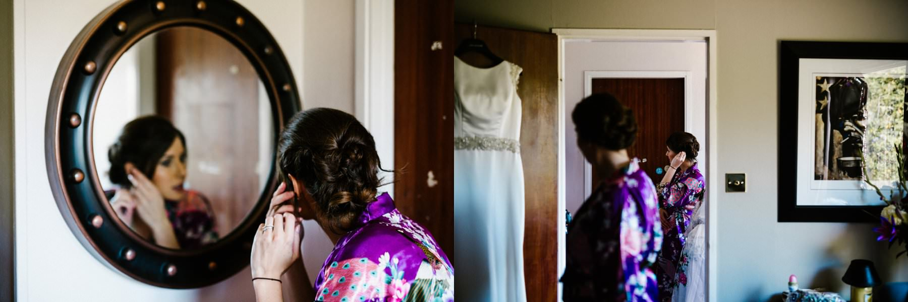 bridesmaids fix their hair wearing purple kimonos