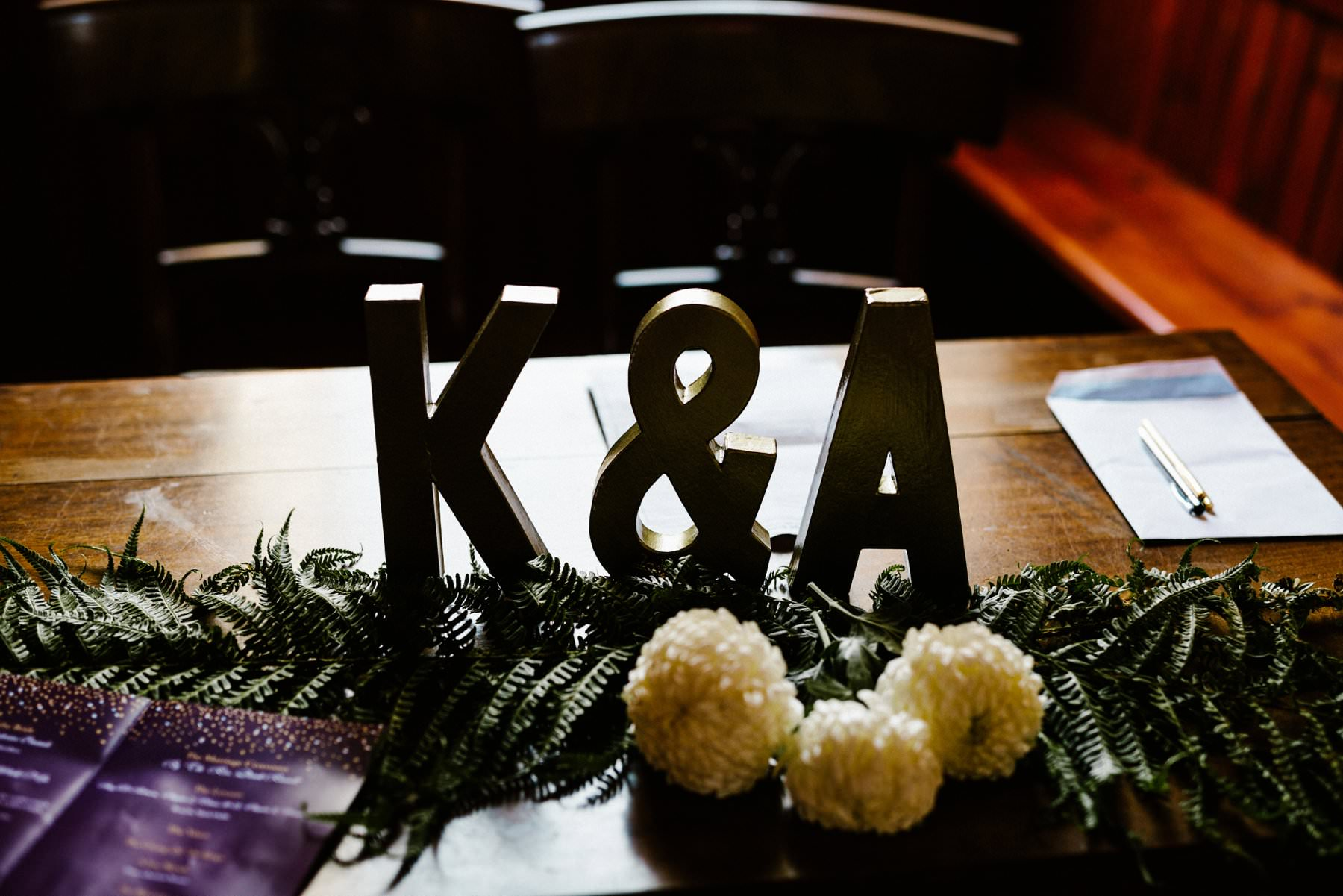 letters at registry table wedding photography northern ireland