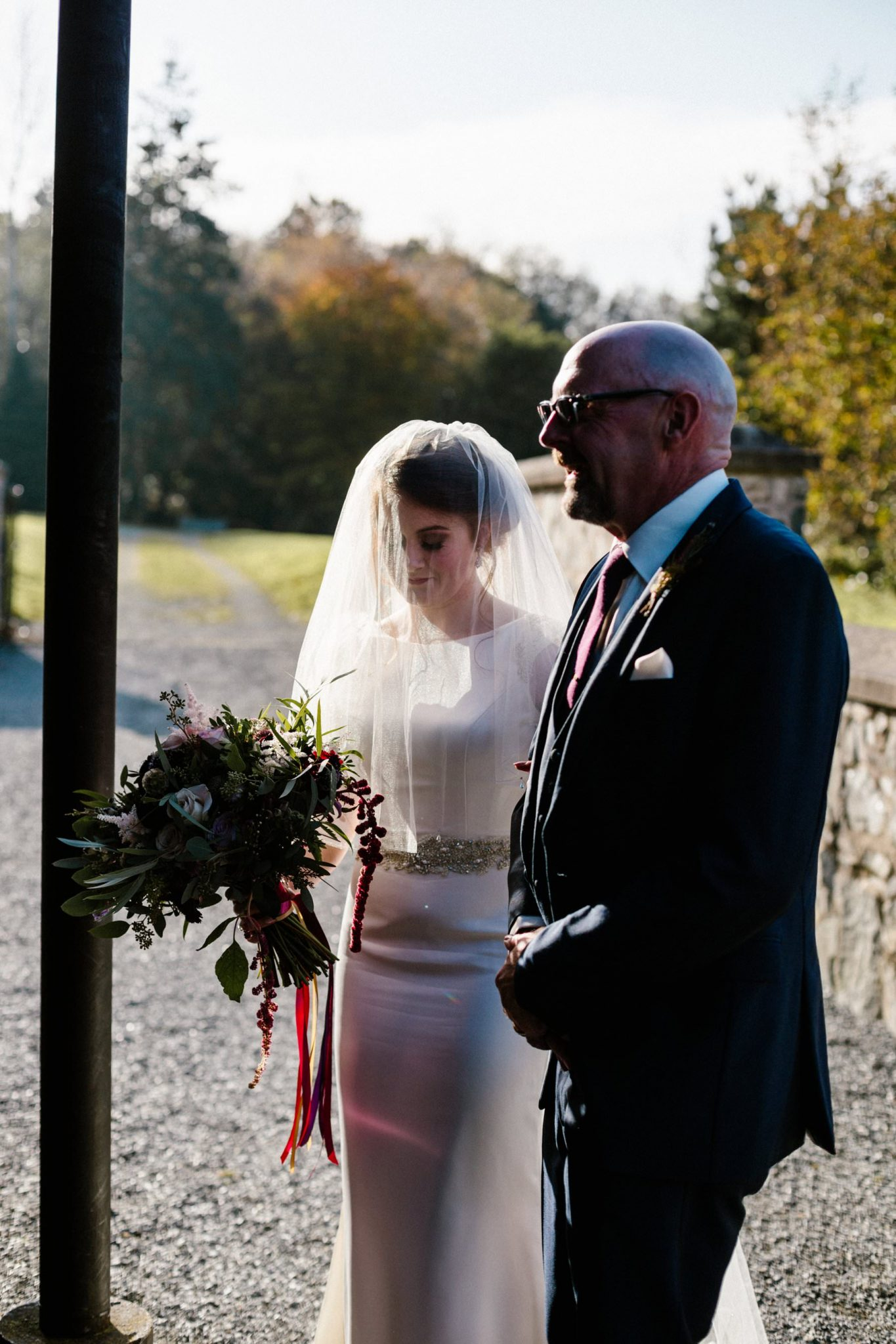 bride with father of the bride wedding photographer northern ireland
