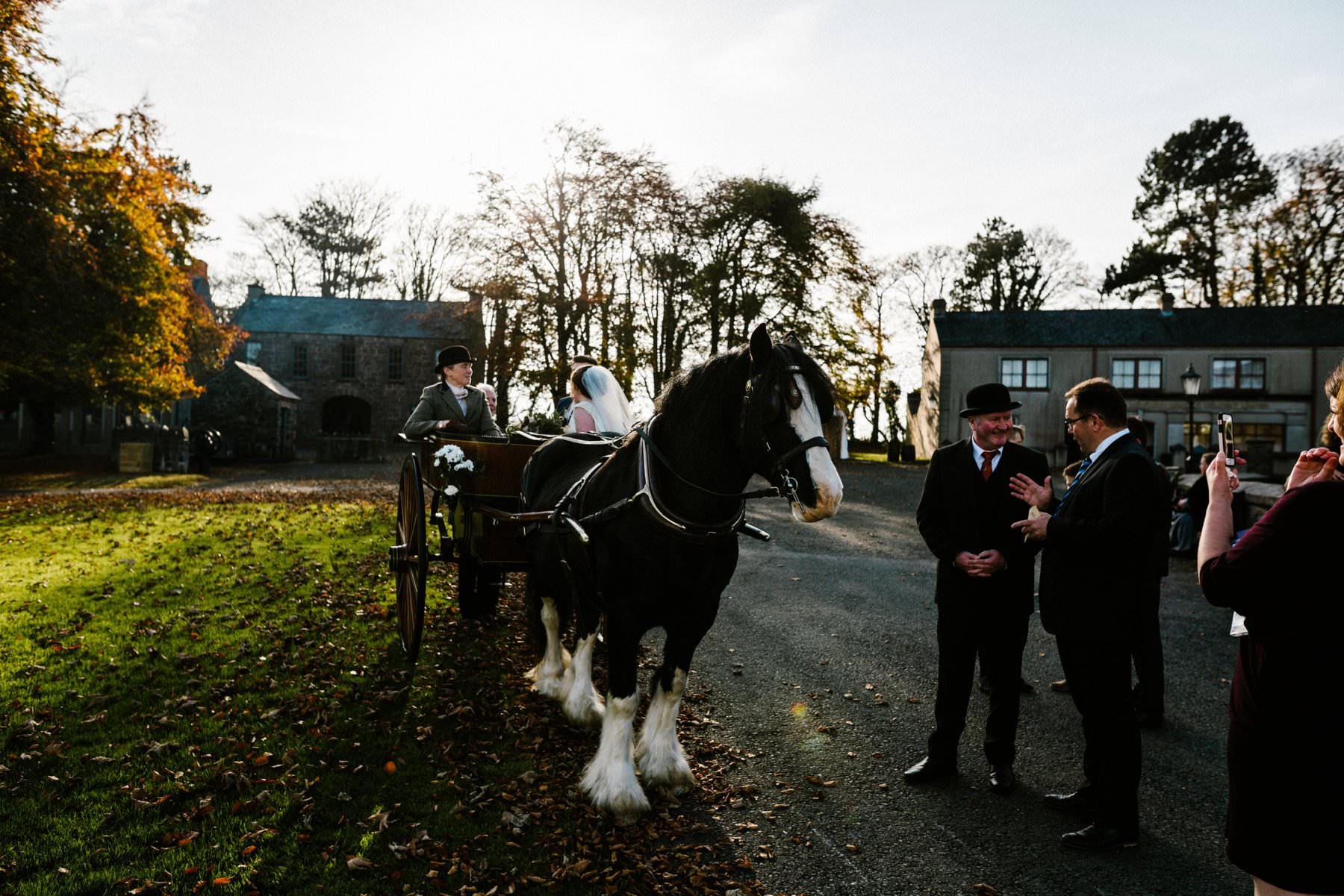 clydesdale horse and carriage wedding photographer northern ireland