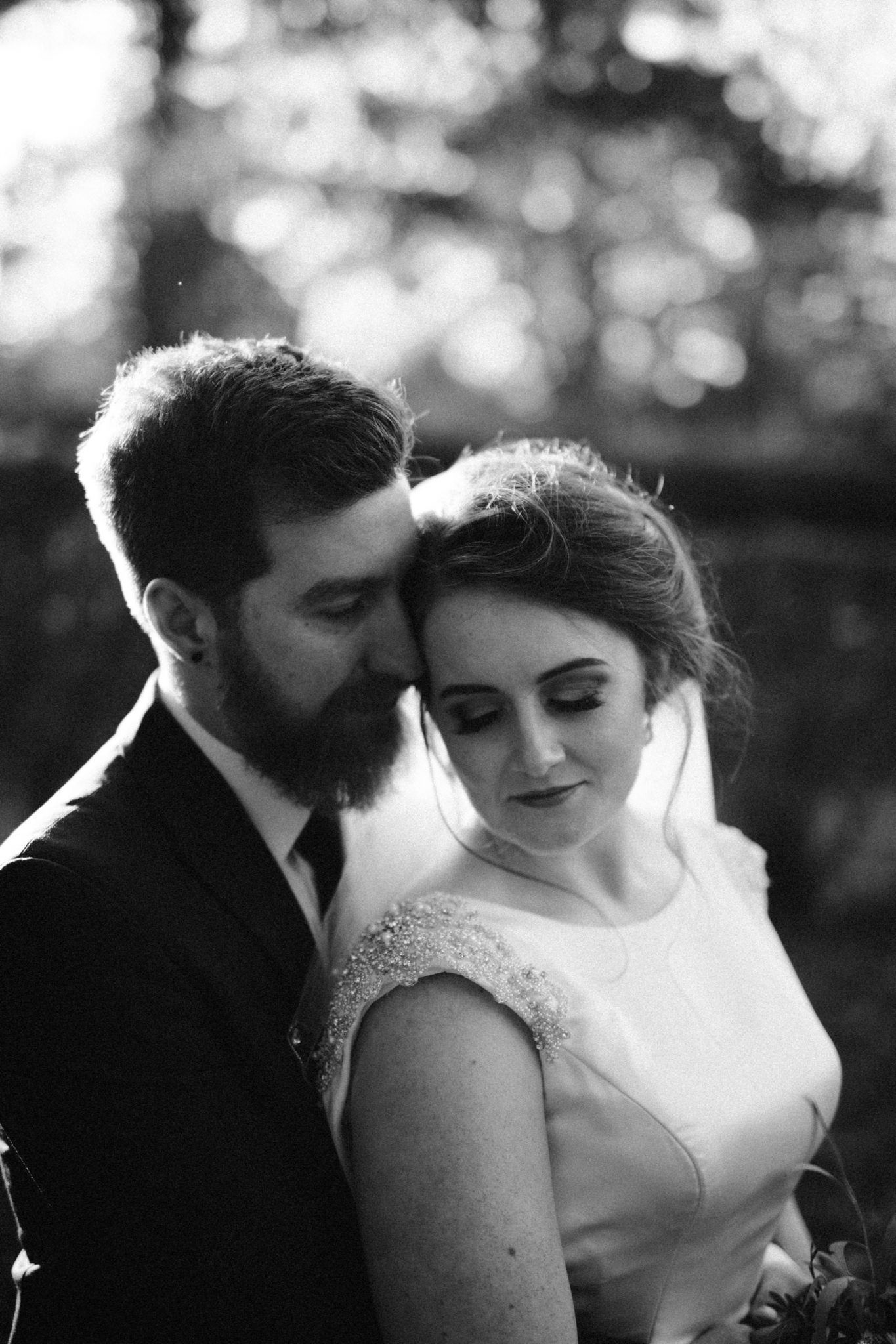 black and white wedding portrait of bride and groom ireland