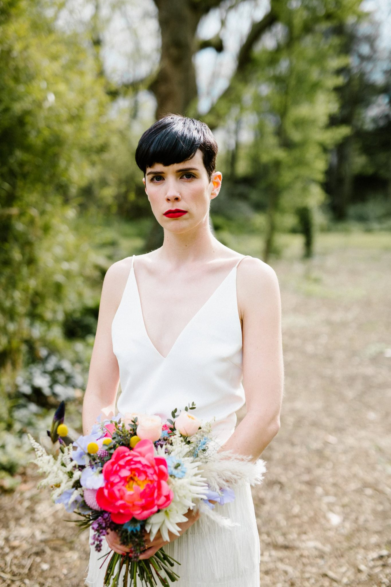 bridal portrait of bride with short hair wedding photography ireland