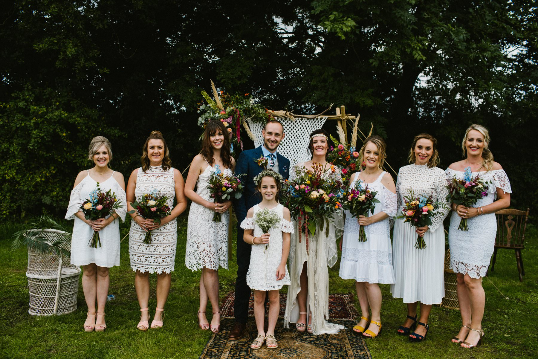 boho bride and bridesmaids outdoor wedding photography