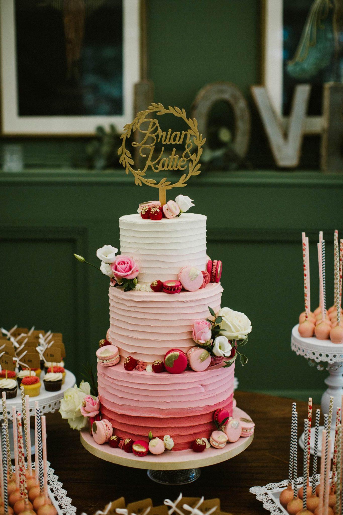 ombre wedding cake tinakilly wedding photography ireland