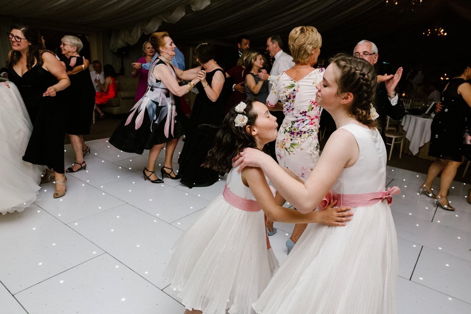 bridesmaids dancing at wedding castle leslie estate ireland