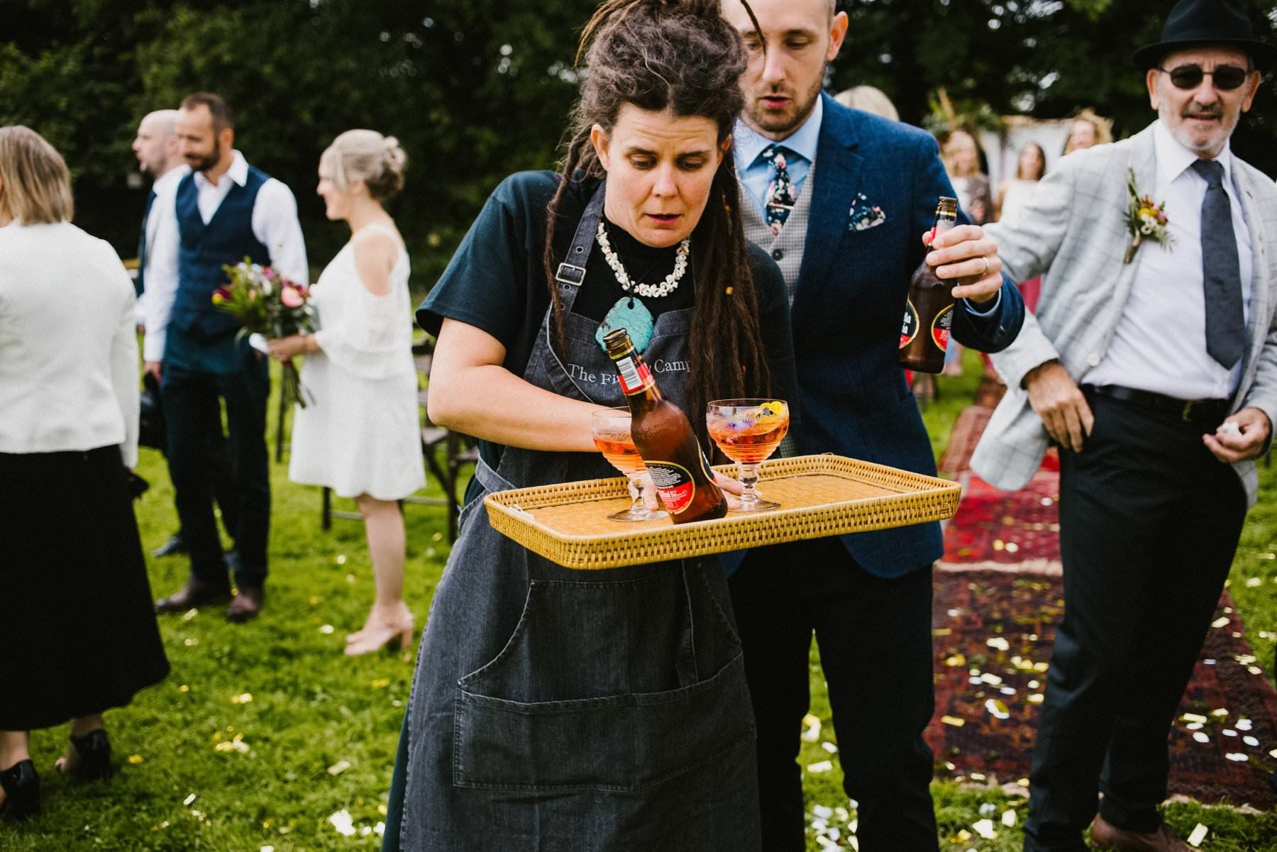 waitress spills beer funny moment at wedding