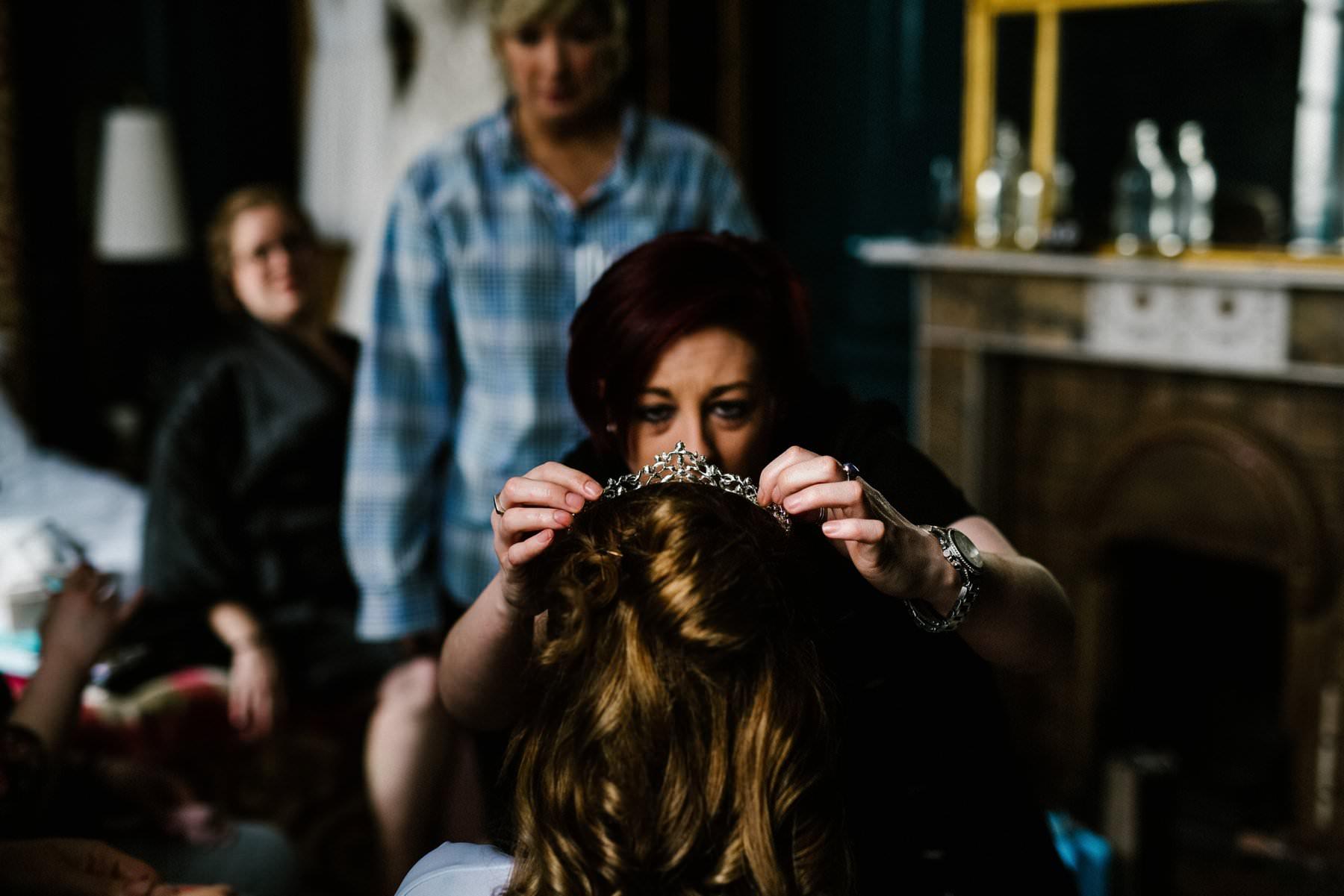 bride has final touches before wedding at Bellinter House Cavan