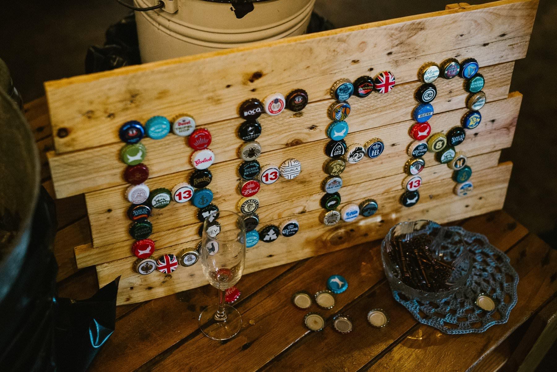 homemade beer sign wedding photography