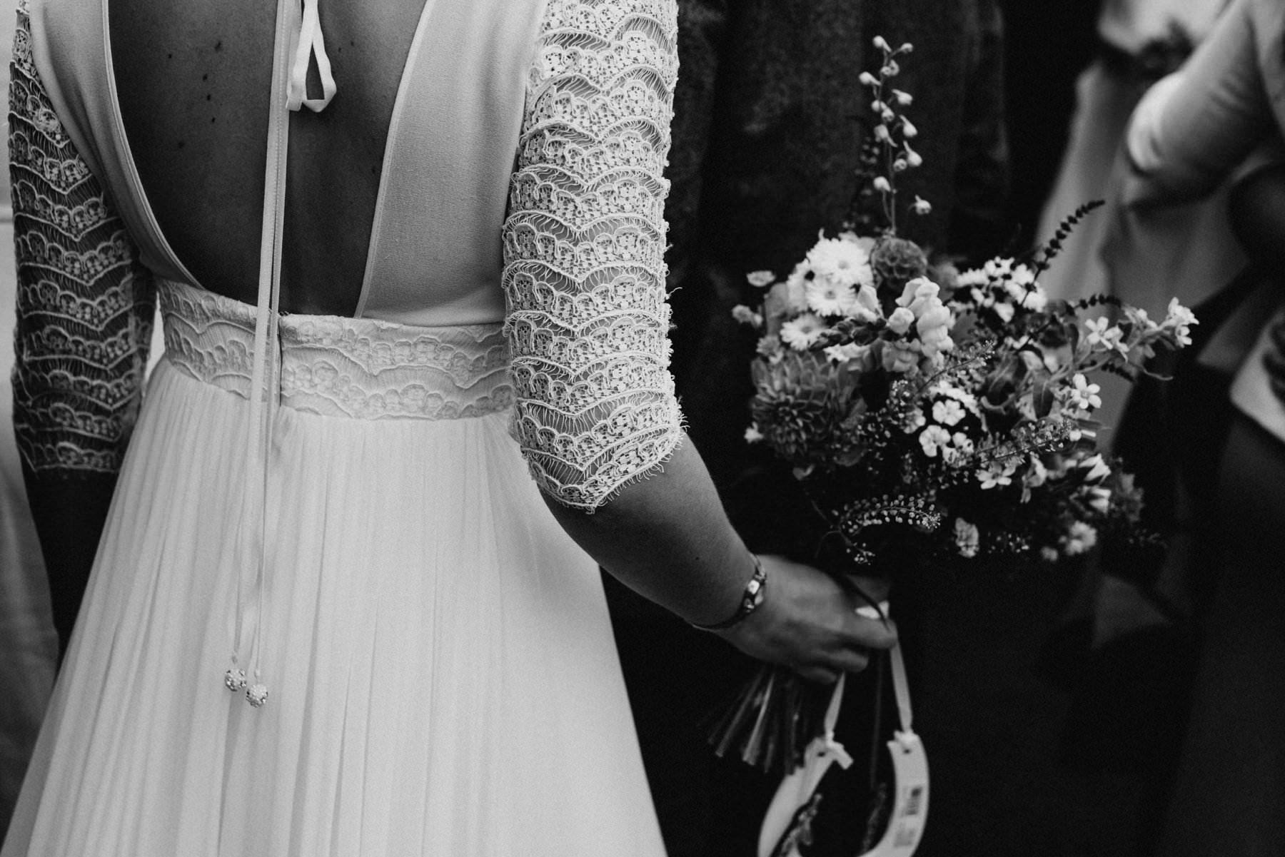 bride holds bouquet