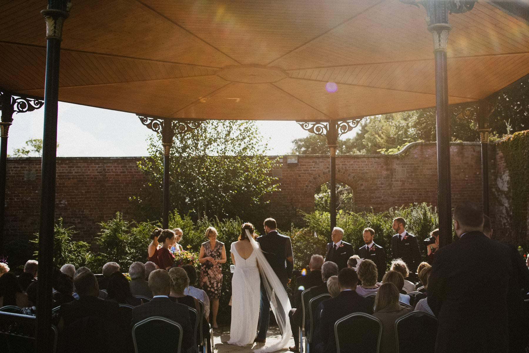outdoor wedding ceremony in bangor walled gardens