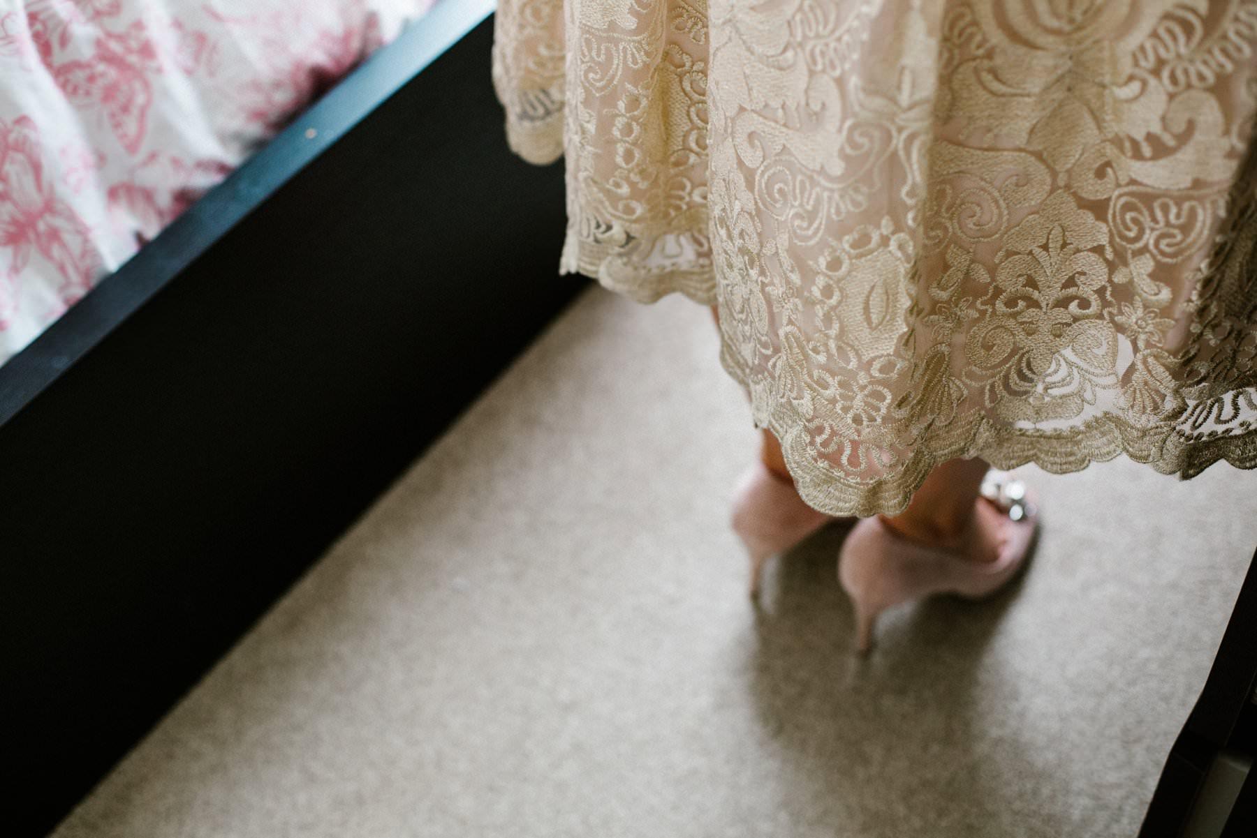 champagne wedding dress detail, wedding photographer northern ireland