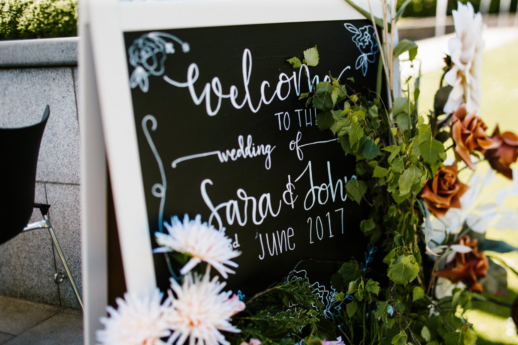 welcome sign for john and sara's wedding, wedding photographer northern ireland