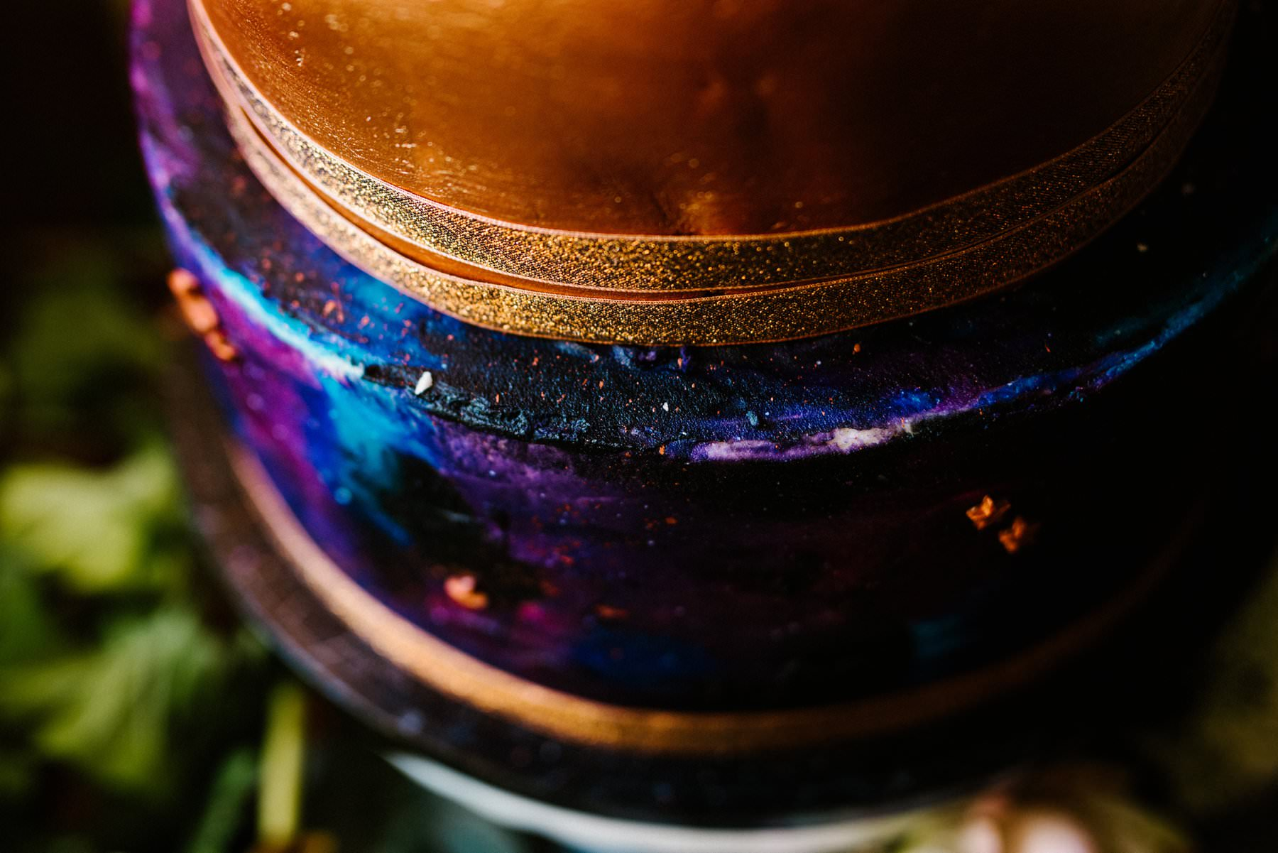 close up of galaxy themed icing for wedding cake