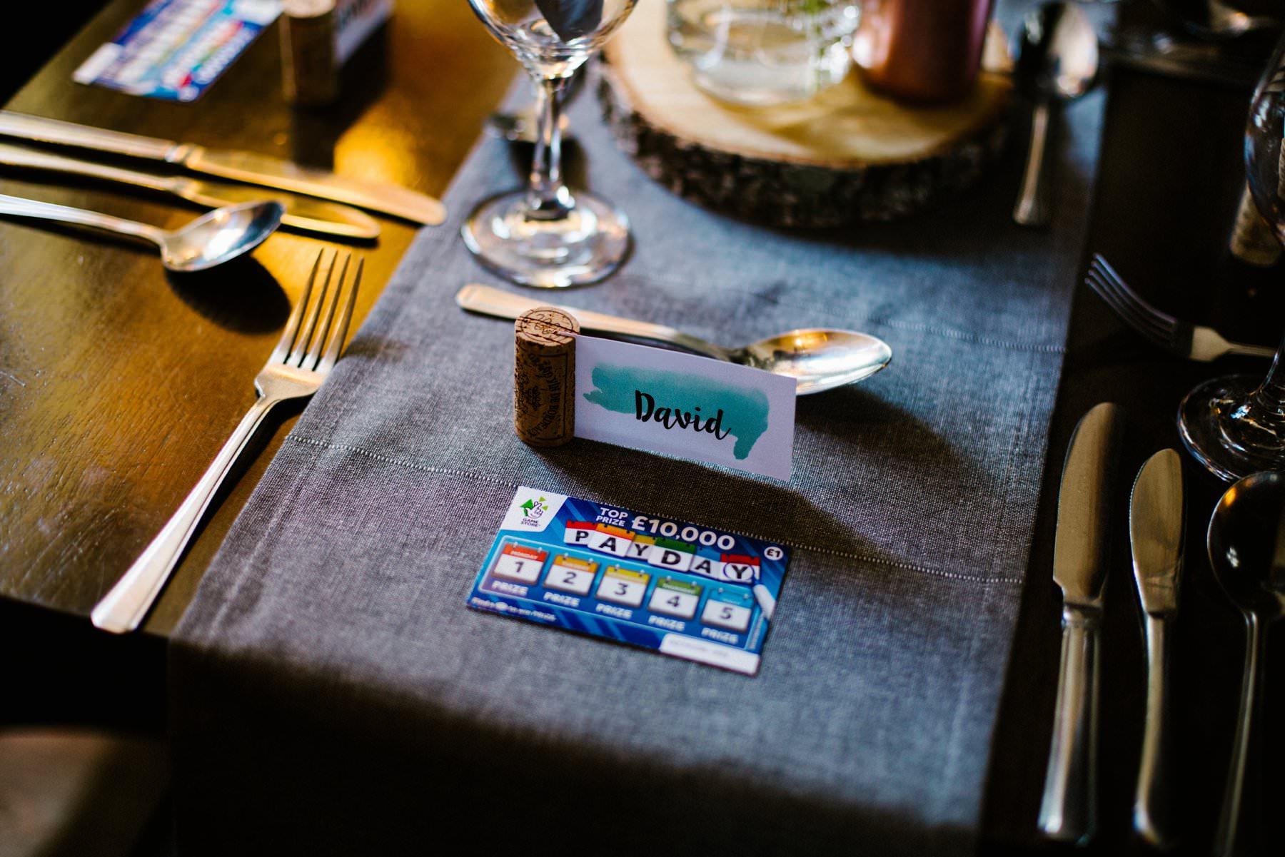 alternative wedding favours include scratch cards, wedding photographer northern ireland