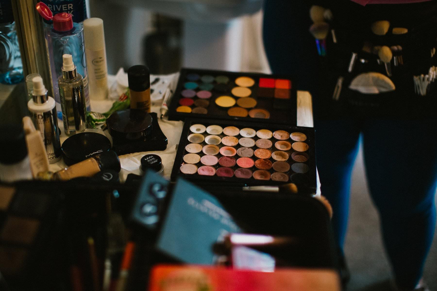 make up artist eyeshadow palette at wedding northern ireland