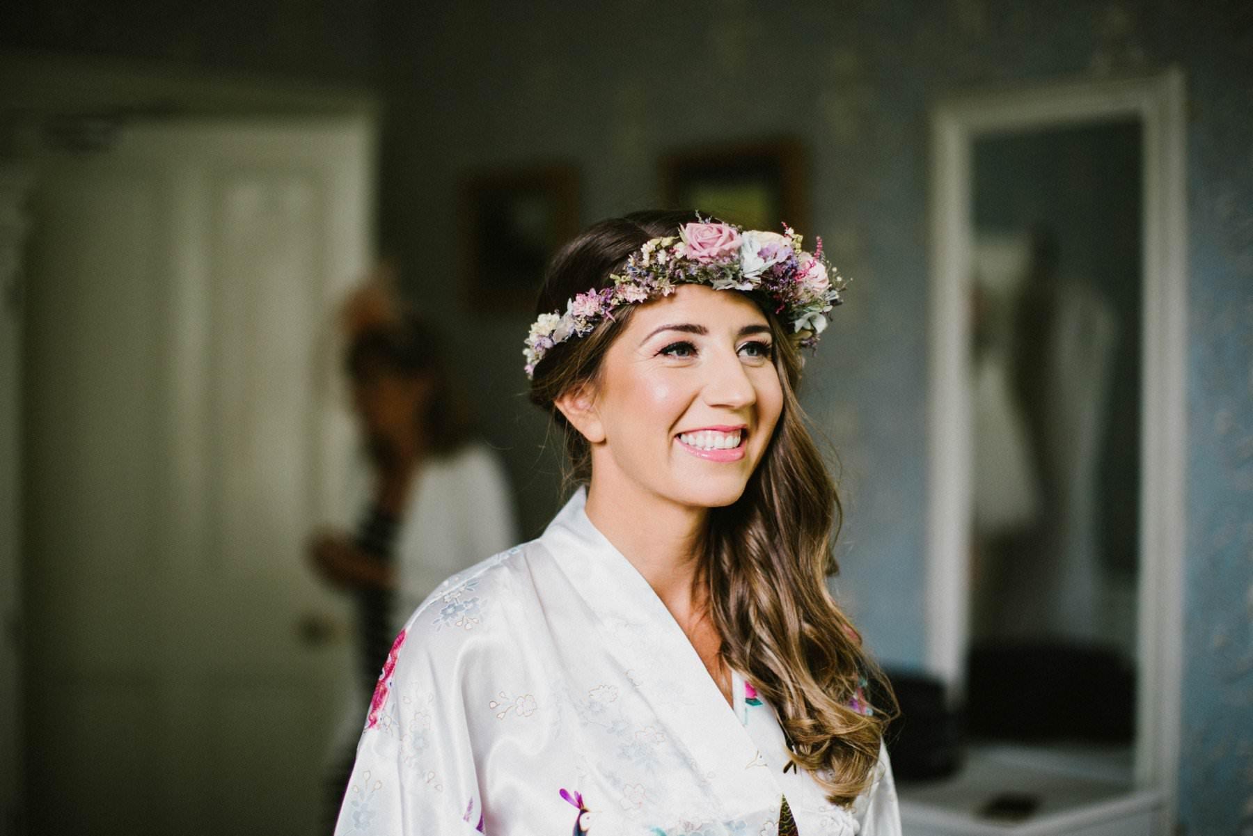 irish bride with flower crown