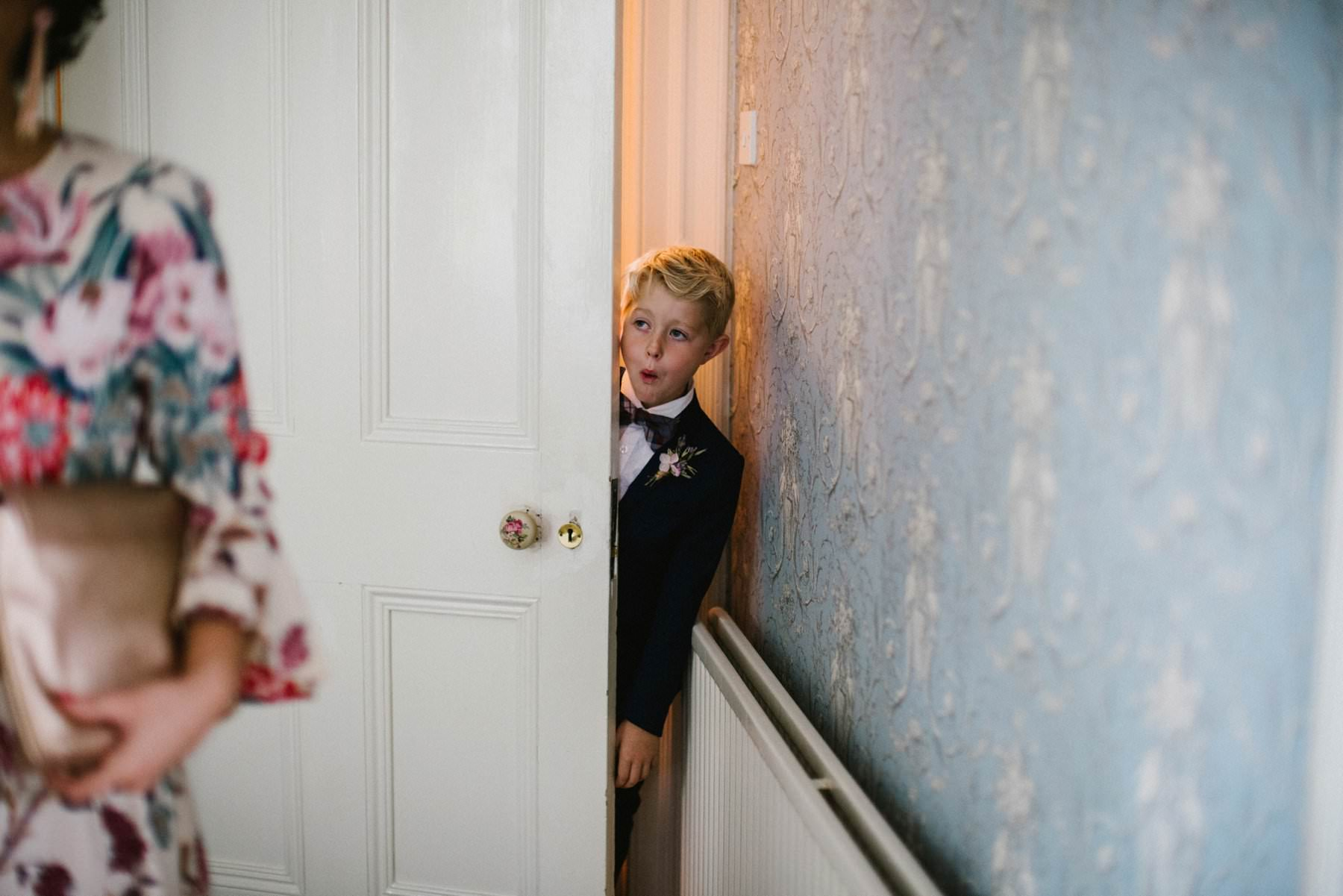 shocked page boy sees bride for first time