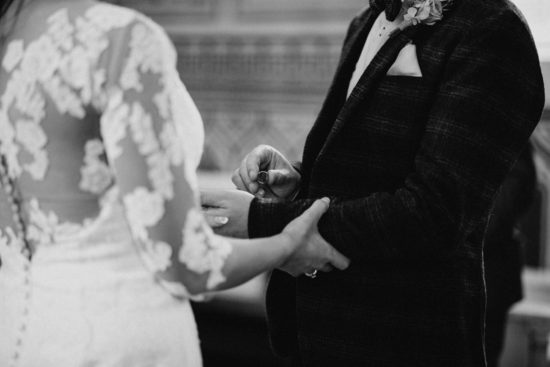 black and white ring exchange wedding northern ireland