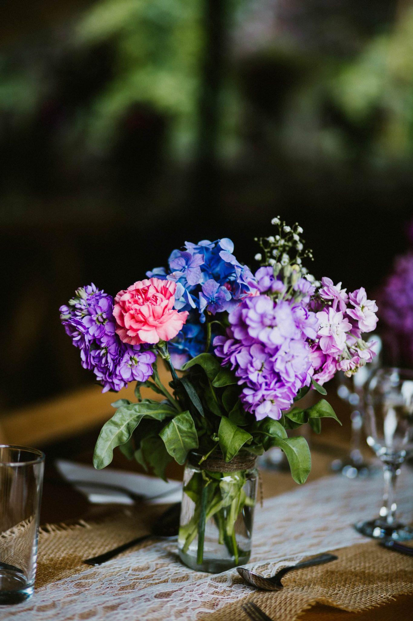 hydrangea flower centre piece for wedding in tipi northern ireland