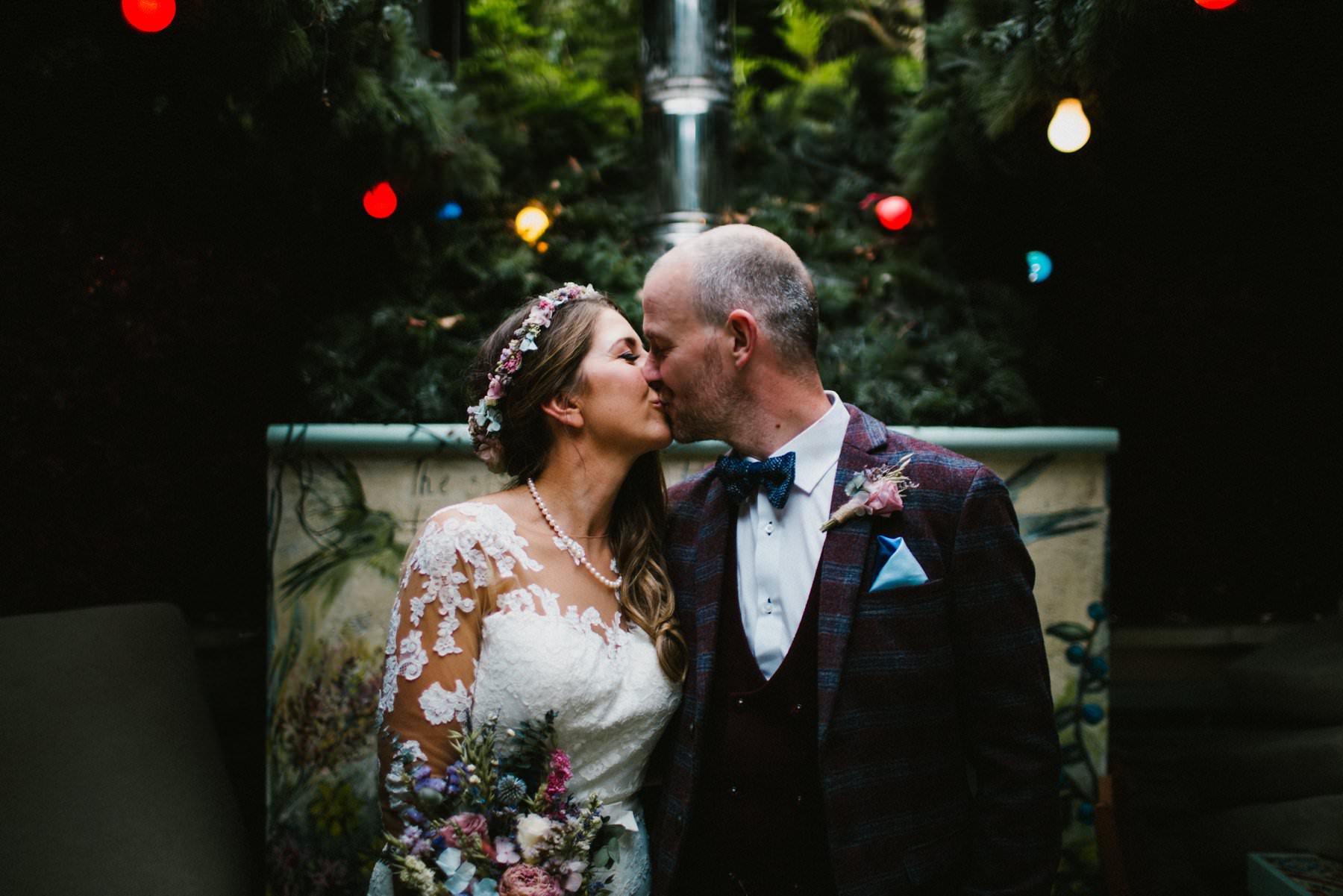 bride and groom kiss, wedding photography northern ireland