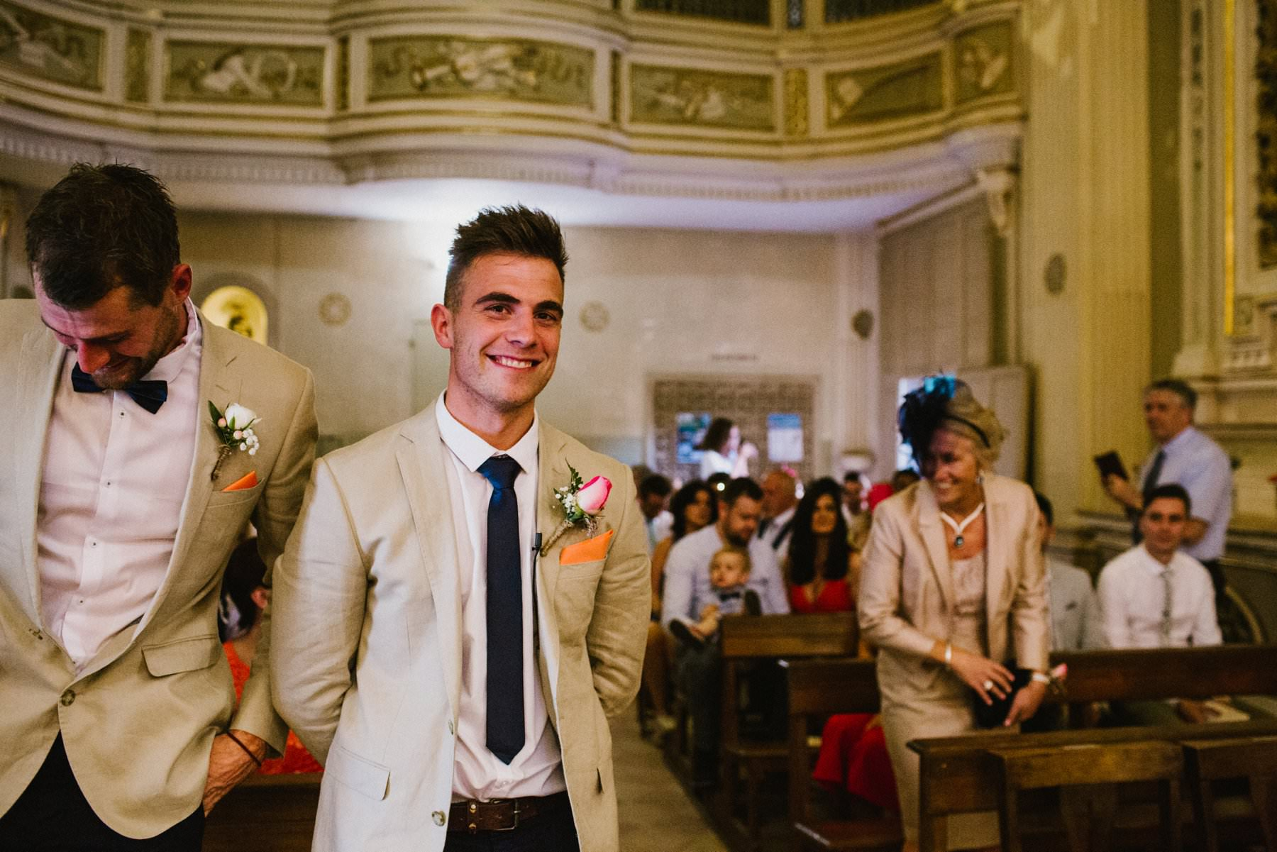 groom waits for his bride at an irish wedding in italy