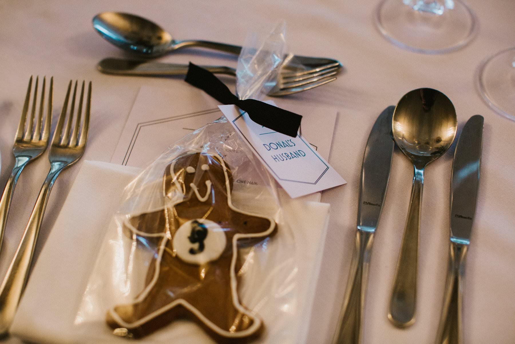 "same sex wedding idea, ginger bread man favour with ""john's husband"""