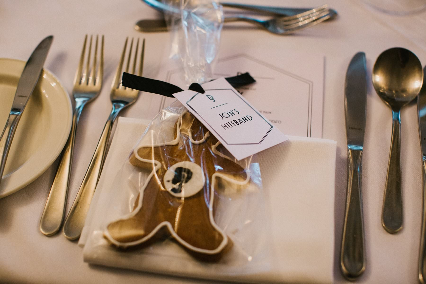 "same sex wedding idea, ginger bread man favour with ""donal's husband"""