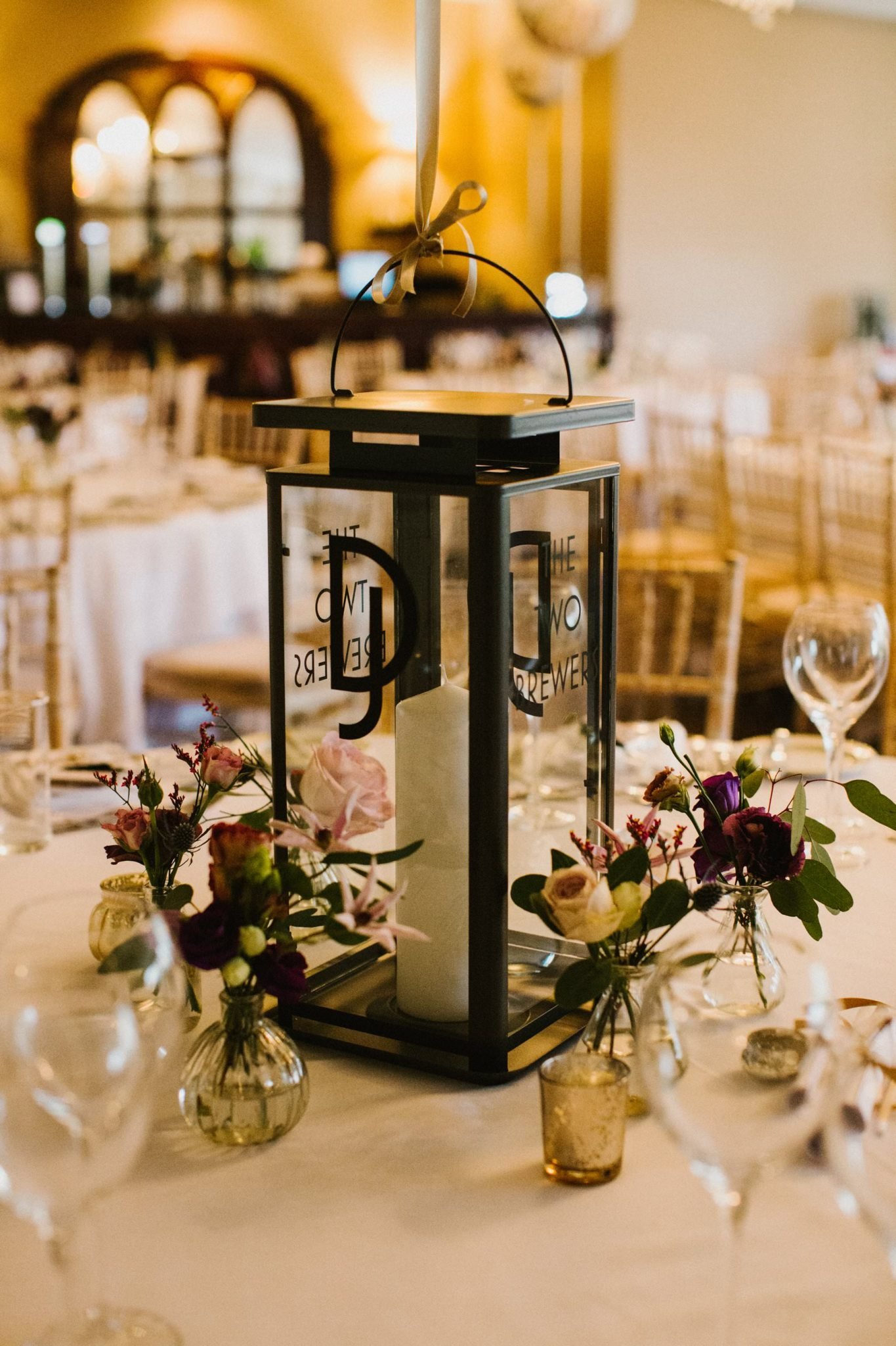 decal initials on lantern for wedding table centre piece in bellinter house navan