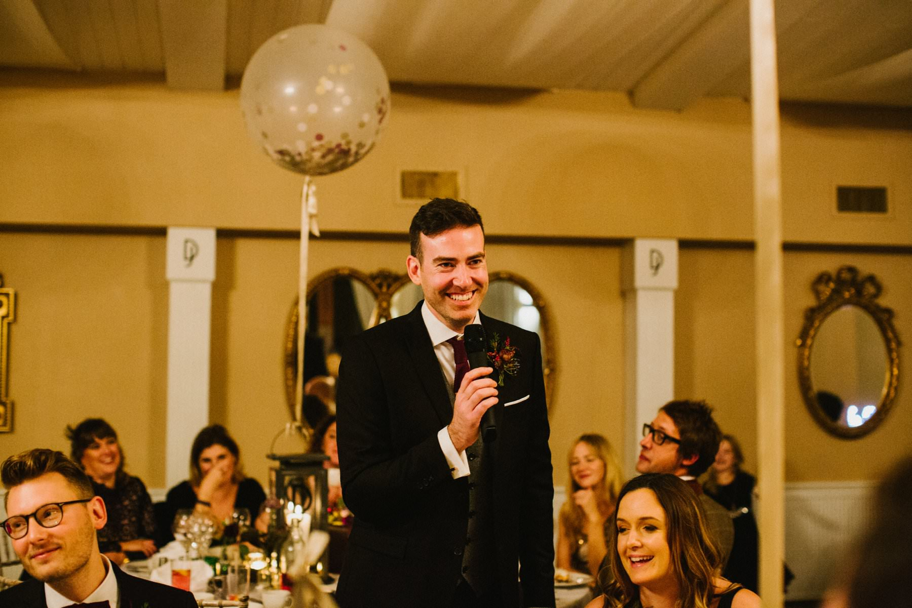 groom gives speech at his wedding reception at Bellinter House
