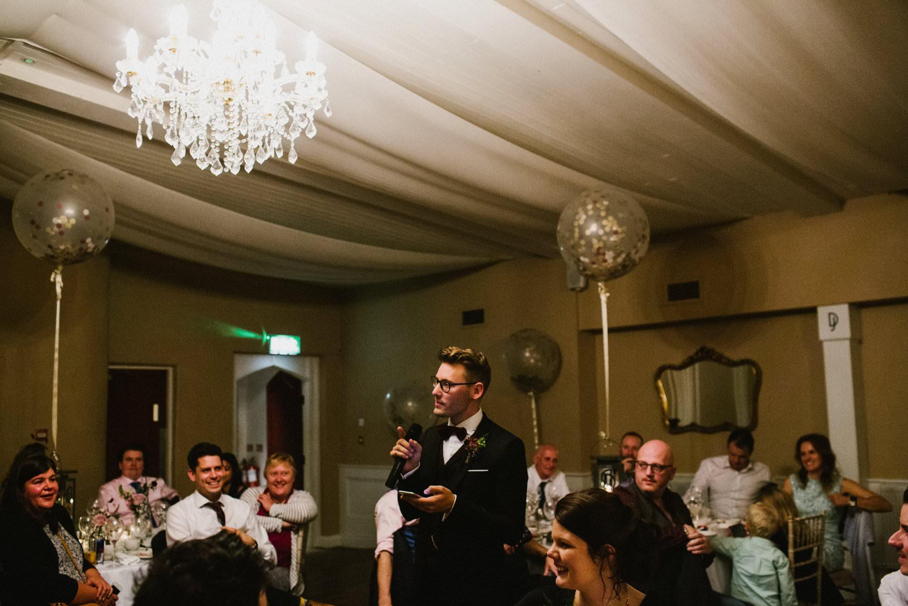 groom makes speech in reception room of bellinter house
