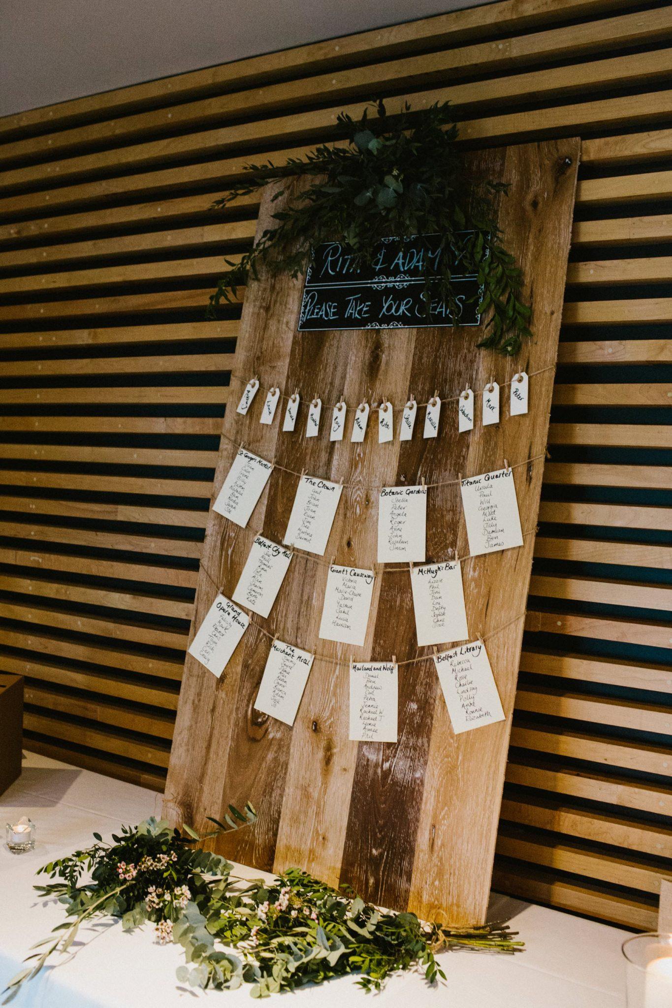 wooden table plan wedding idea