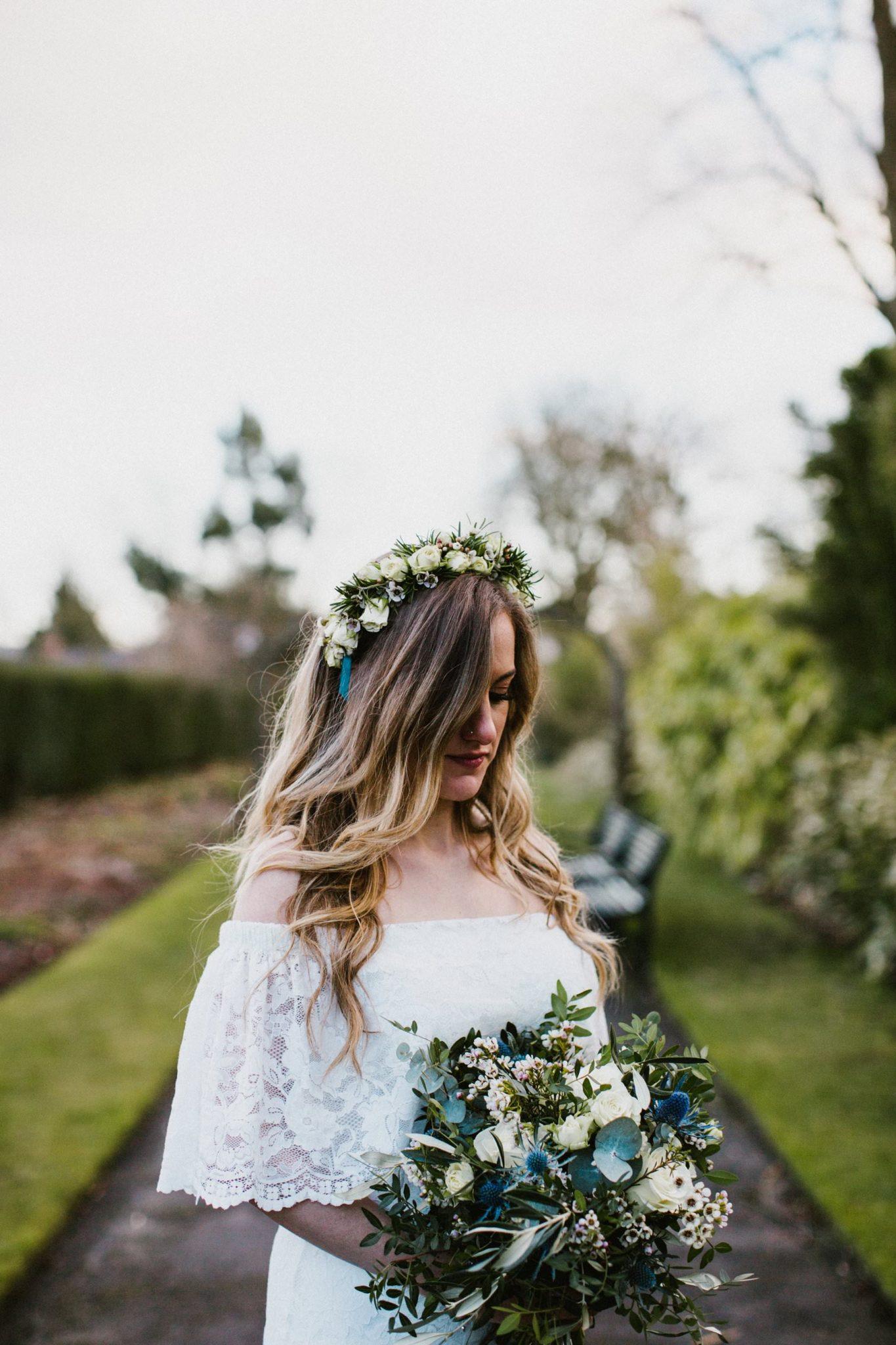 bride with flower crown in botanic gardens belfast northern ireland