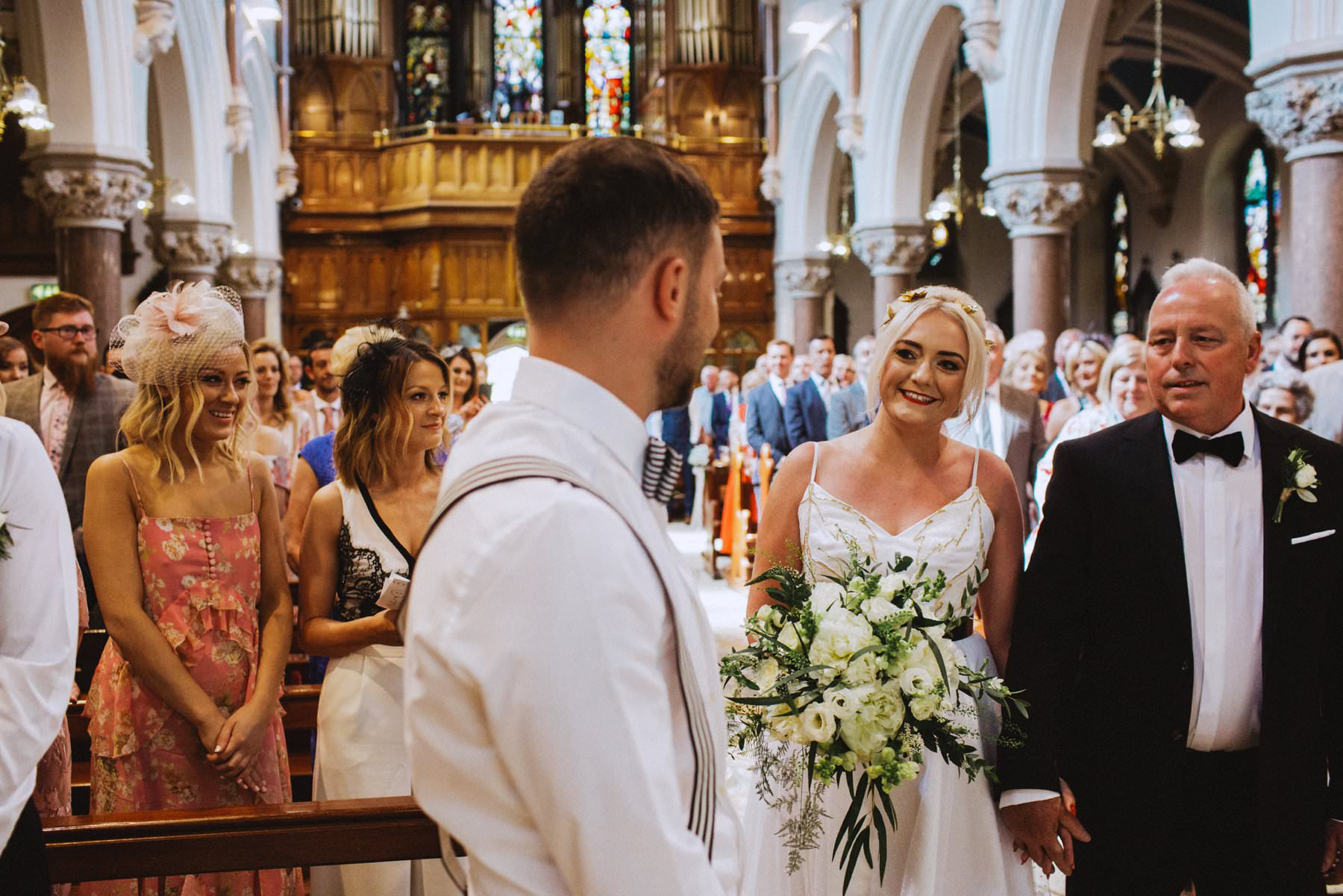 first look, bride and groom see each other for the first time at their belfast wedding
