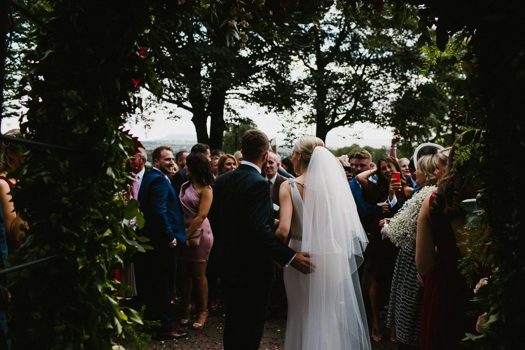 flower arch at a wedding in northern ireland