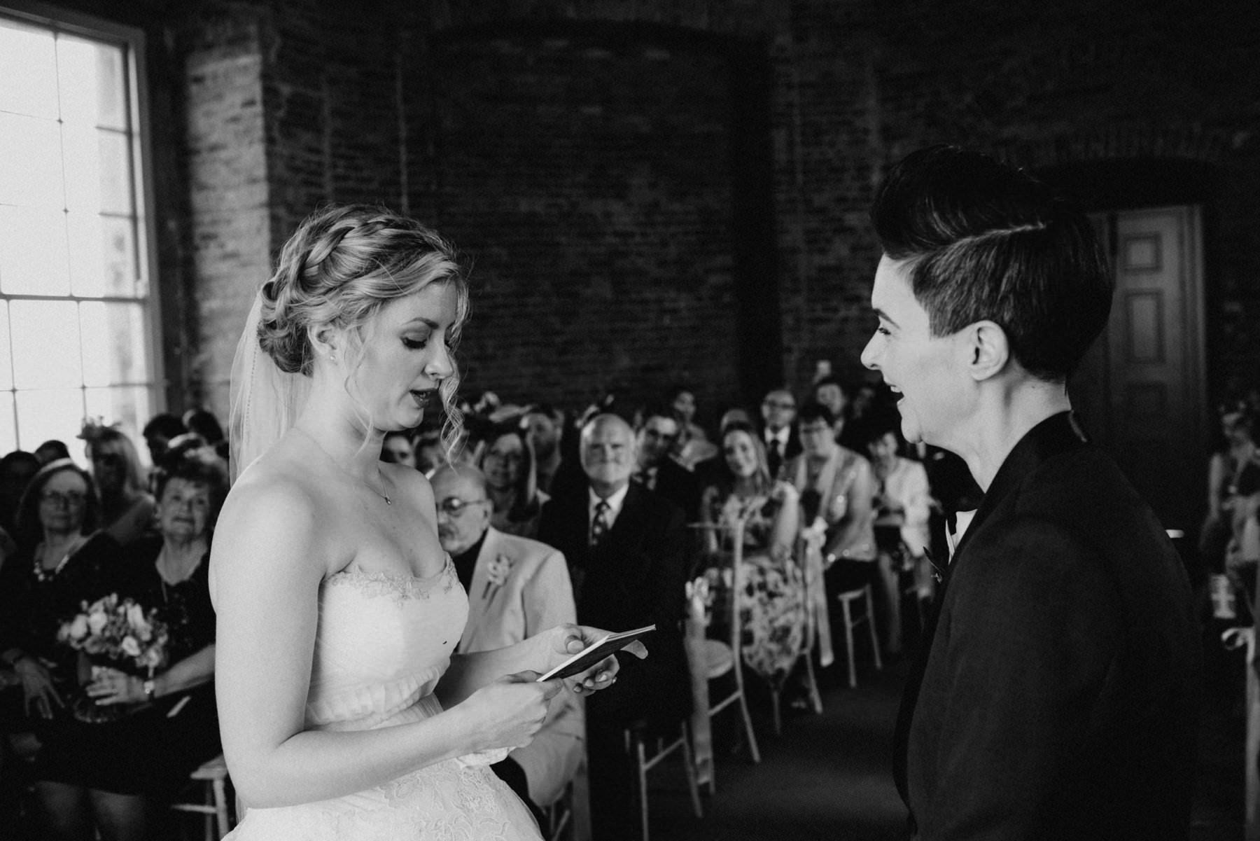 emotional wedding ceremony at mussenden temple northern ireland
